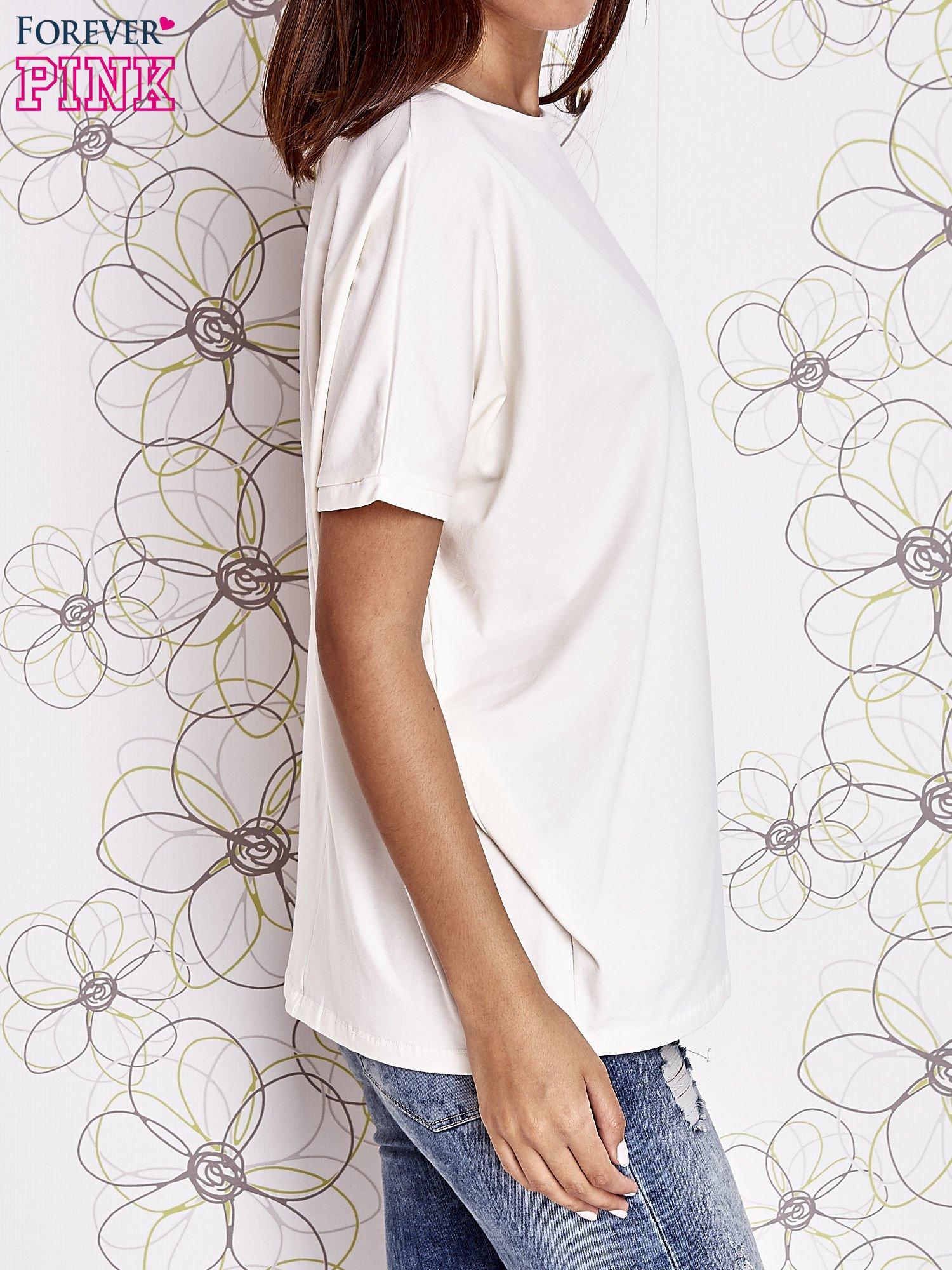 Ecru t-shirt oversize                                  zdj.                                  4