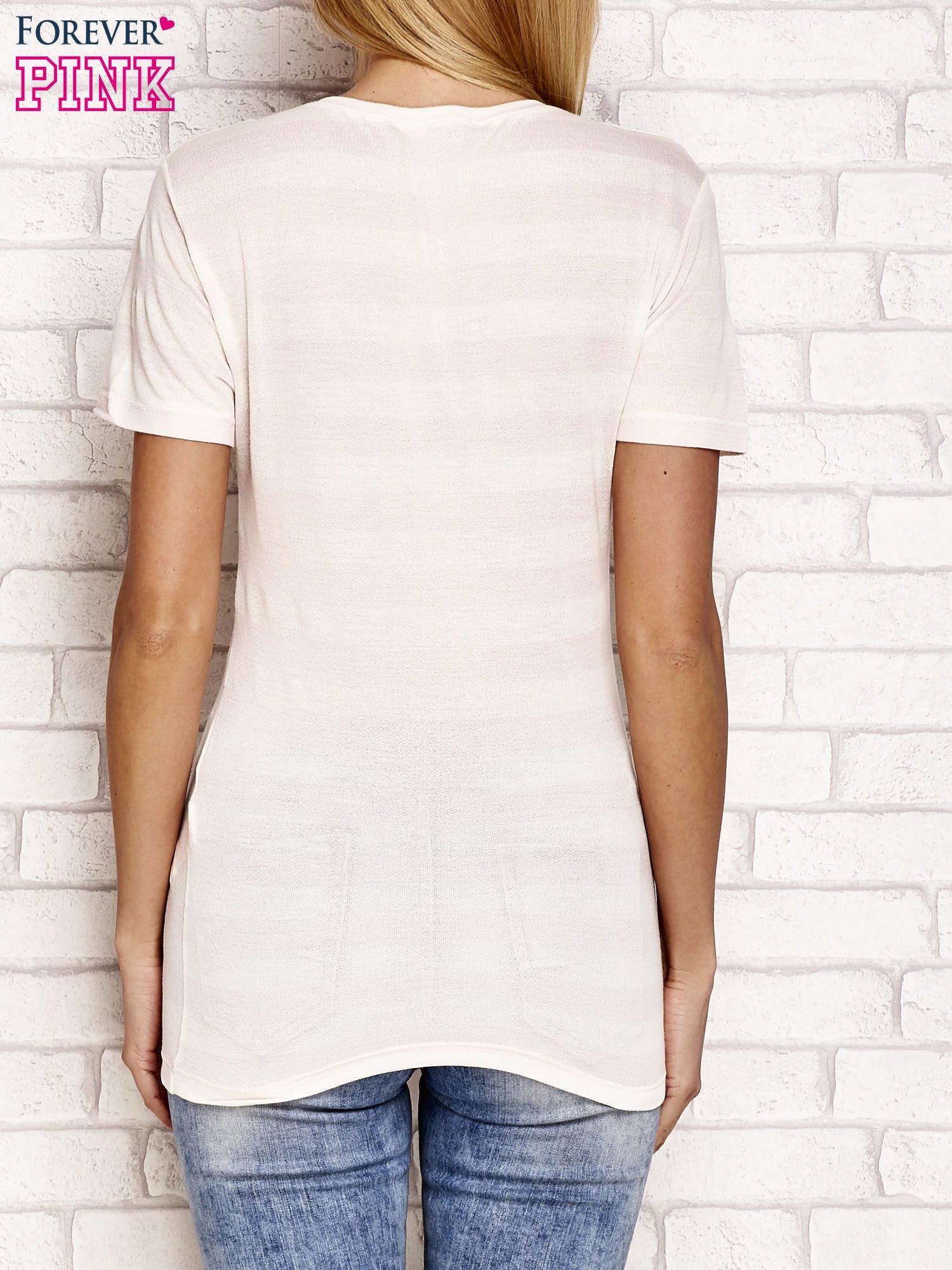 Ecru t-shirt w paski                                  zdj.                                  2