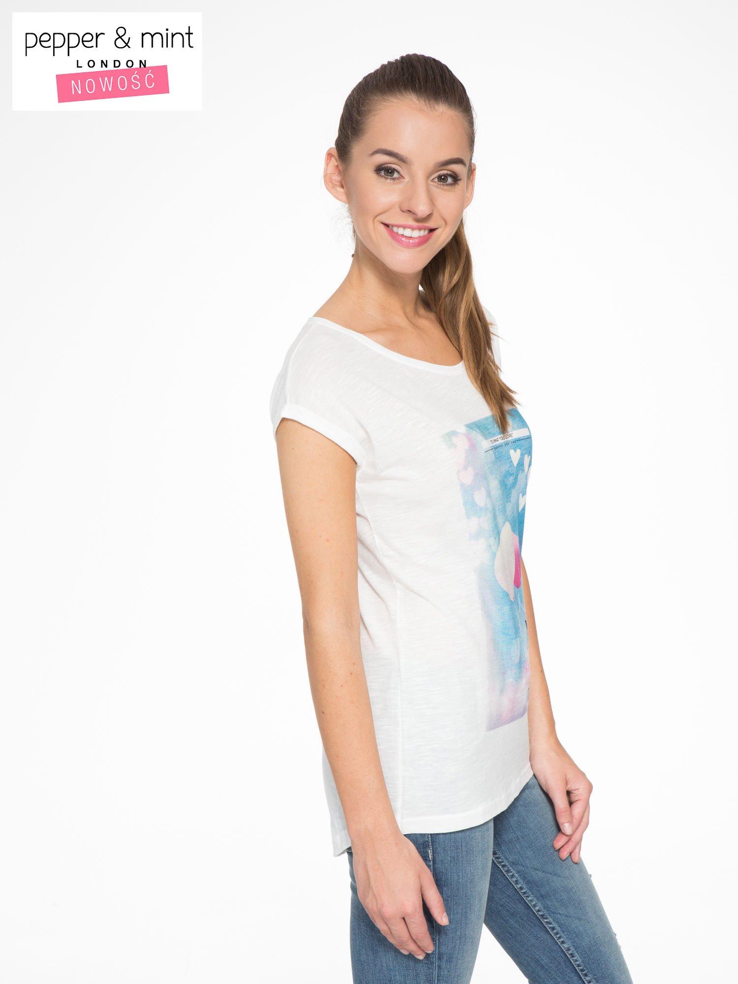 Ecru t-shirt z fotografią balonów                                  zdj.                                  3
