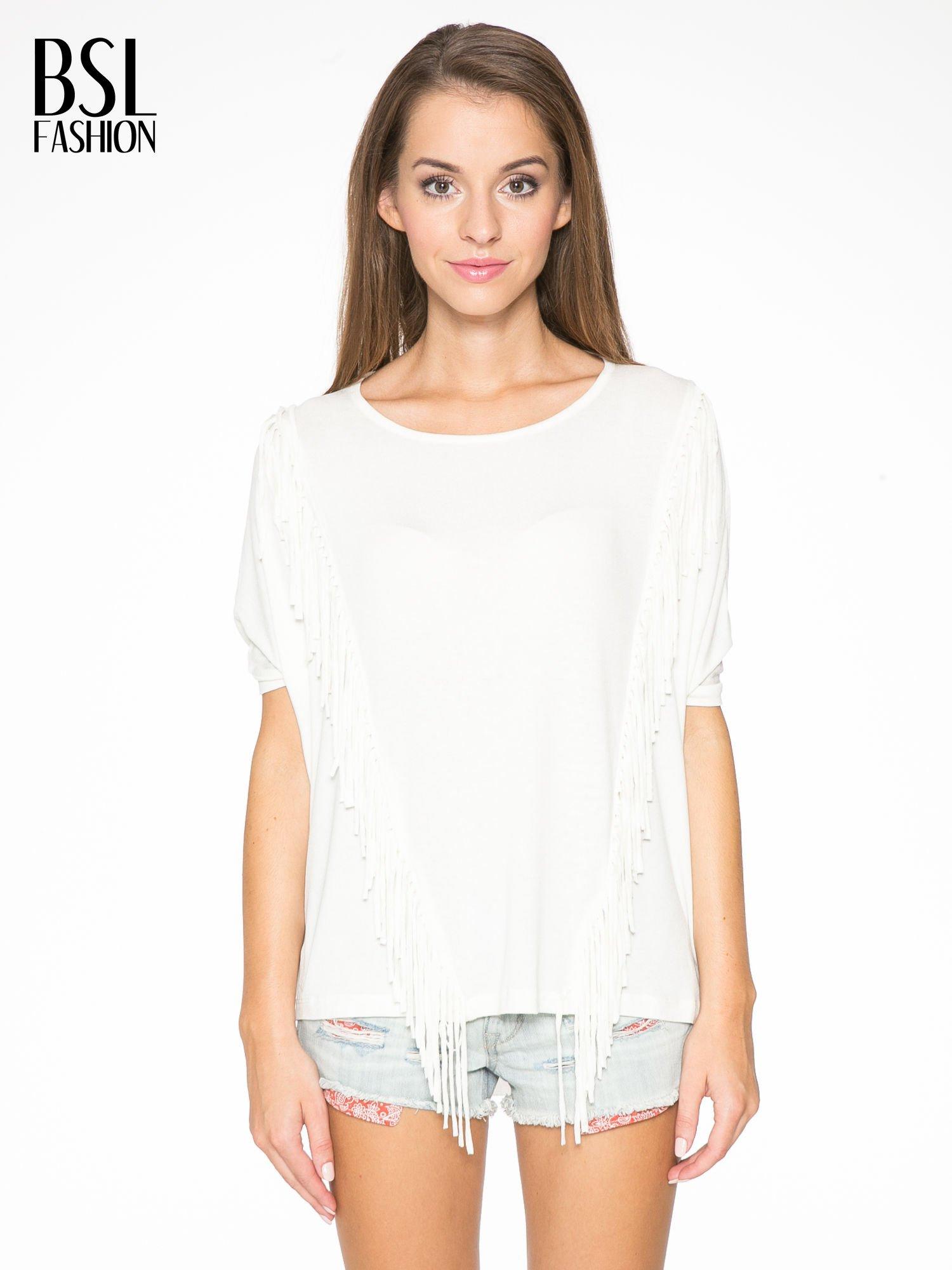 Ecru t-shirt z frędzlami i siateczkowym tyłem                                  zdj.                                  1