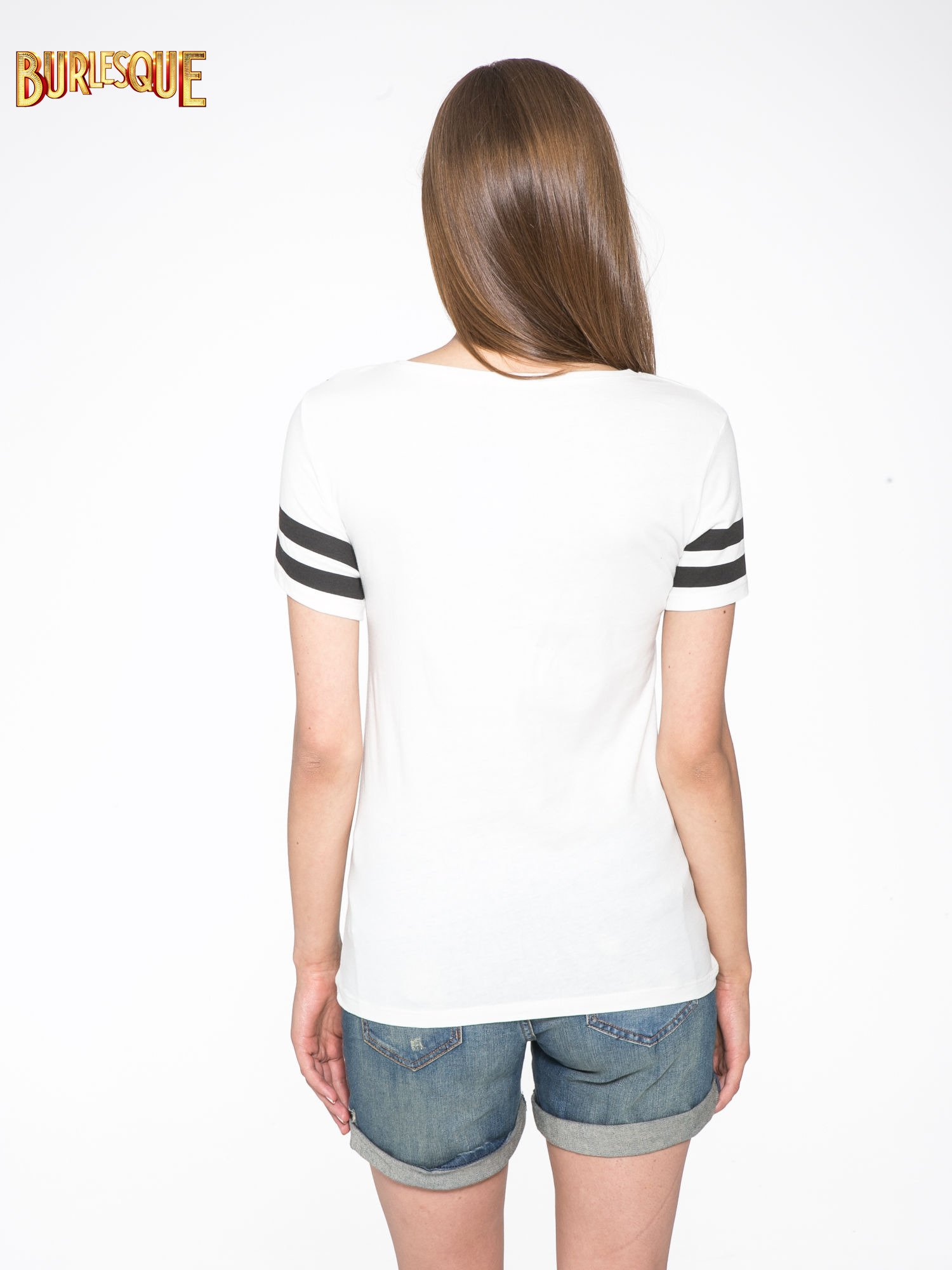 Ecru t-shirt z motywem Paryża                                  zdj.                                  4