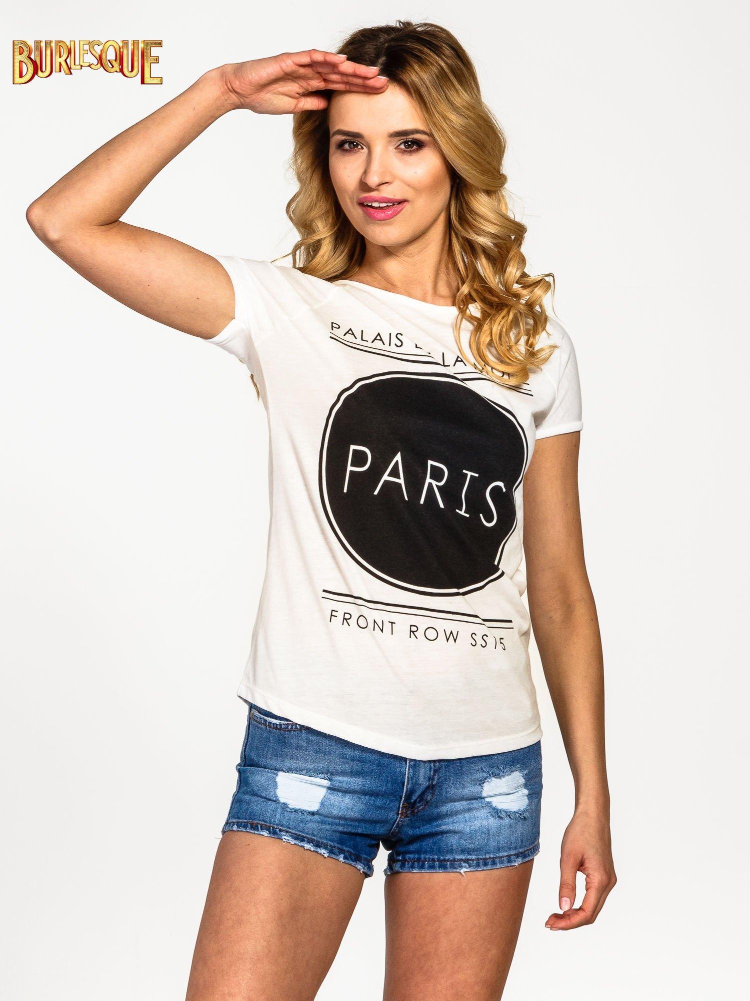 Ecru t-shirt z nadrukiem PARIS                                  zdj.                                  1