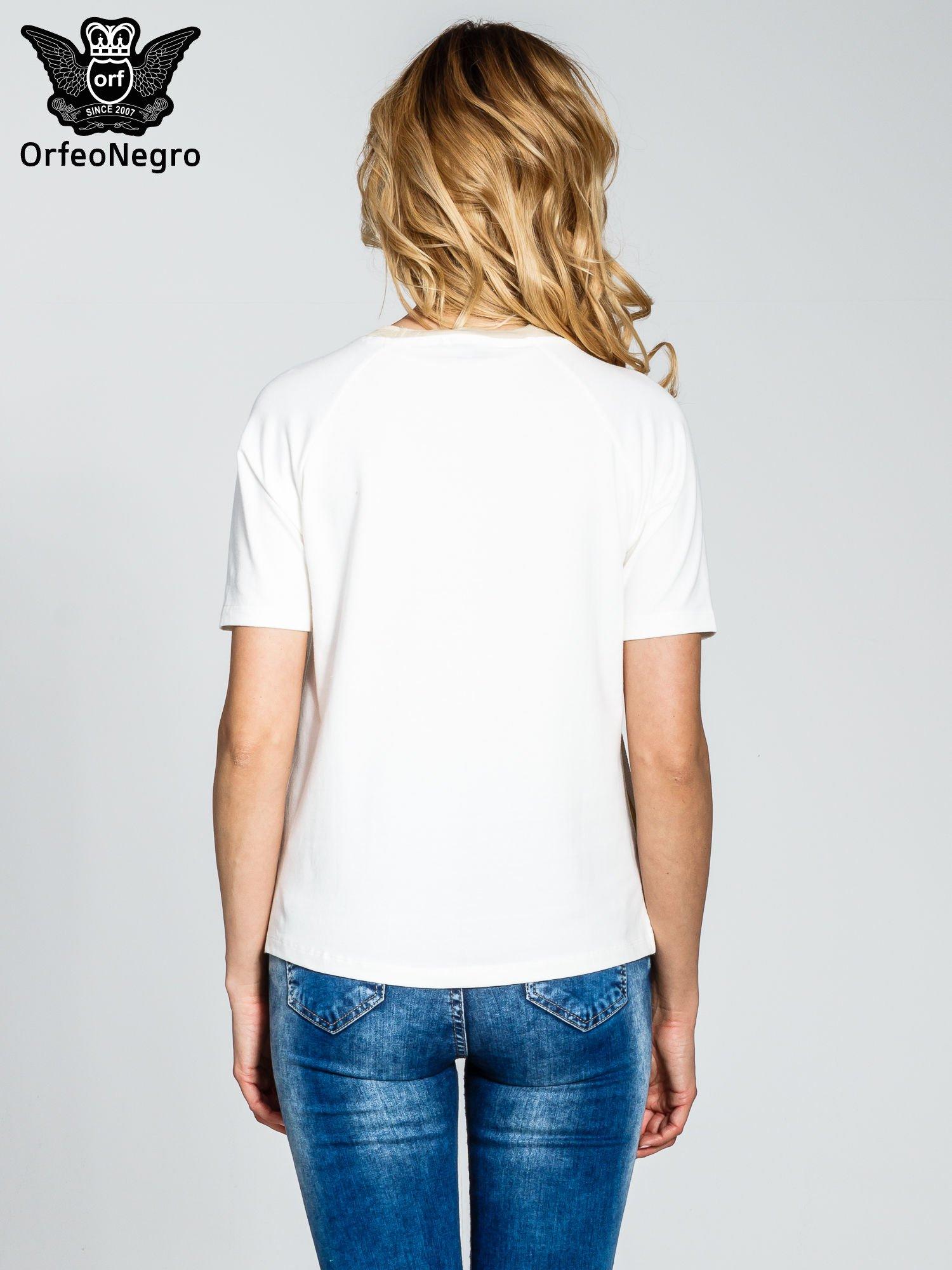Ecru t-shirt z nadrukiem all over floral print                                  zdj.                                  4