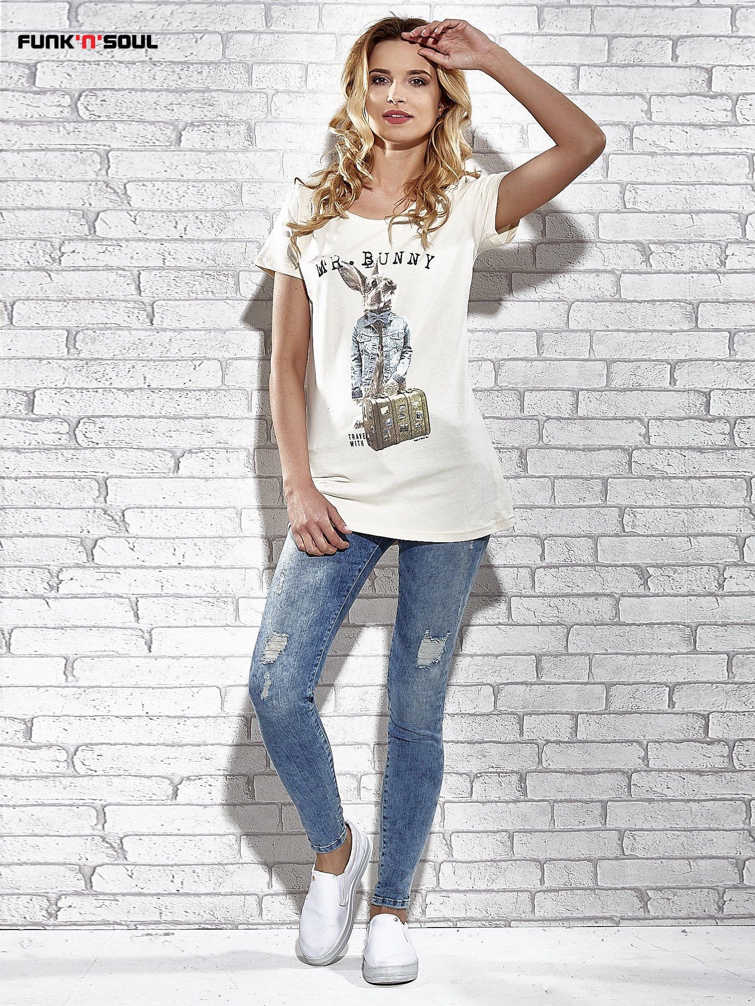 Ecru t-shirt z nadrukiem królika Funk n Soul                                  zdj.                                  7