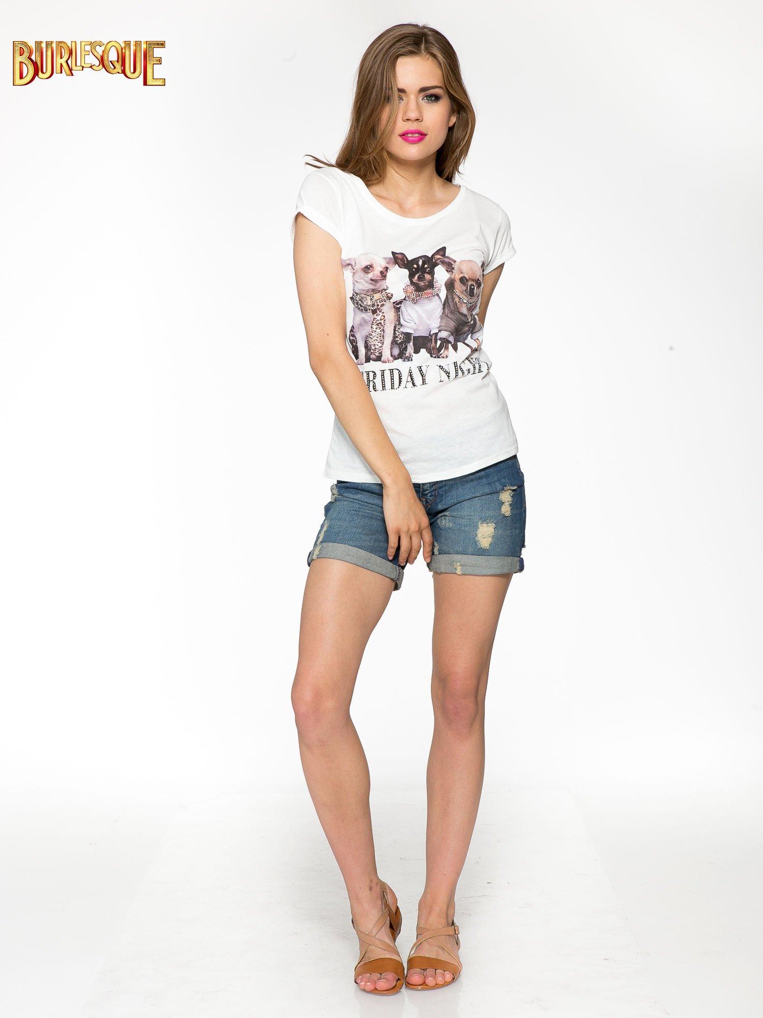 Ecru t-shirt z nadrukiem szczeniąt                                  zdj.                                  2