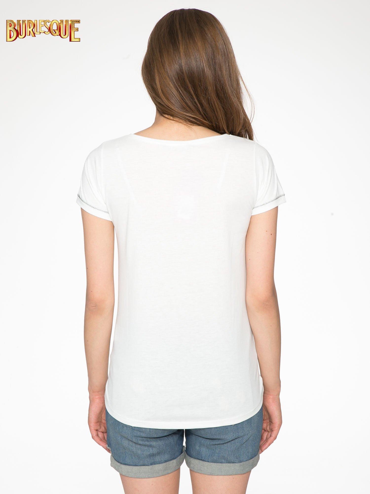 Ecru t-shirt z nadrukiem wieży Eiffla                                  zdj.                                  4