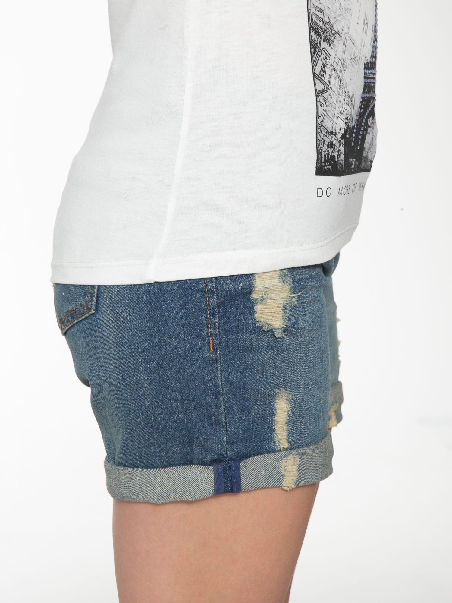 Ecru t-shirt z nadrukiem wieży Eiffla                                  zdj.                                  9