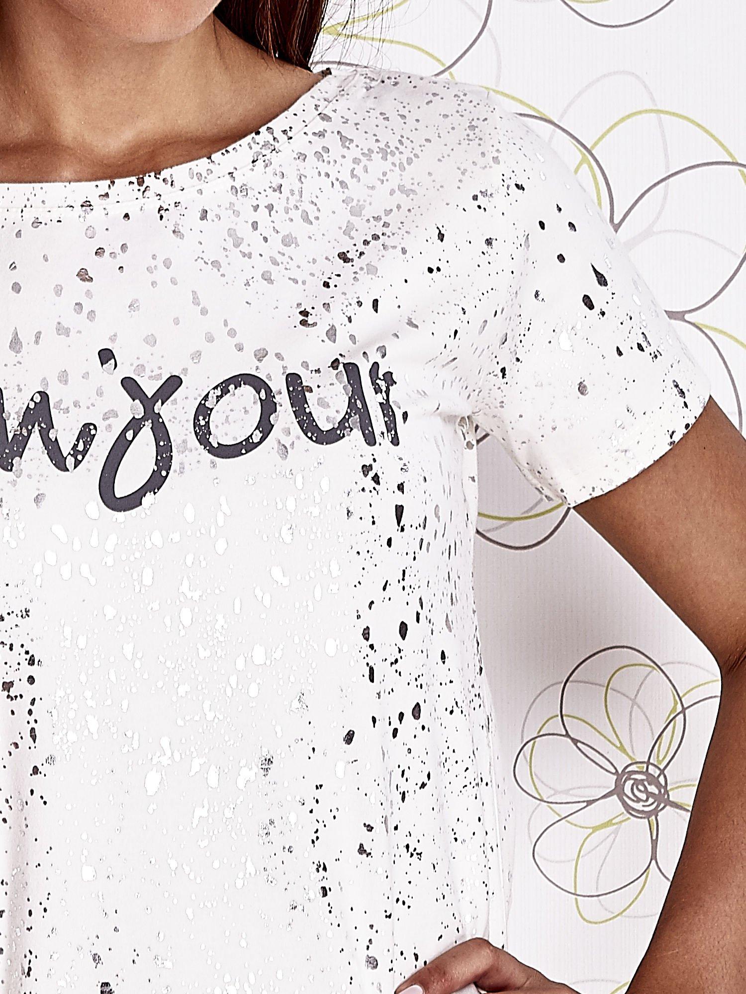 Ecru t-shirt z napisem BONJOUR                                  zdj.                                  5