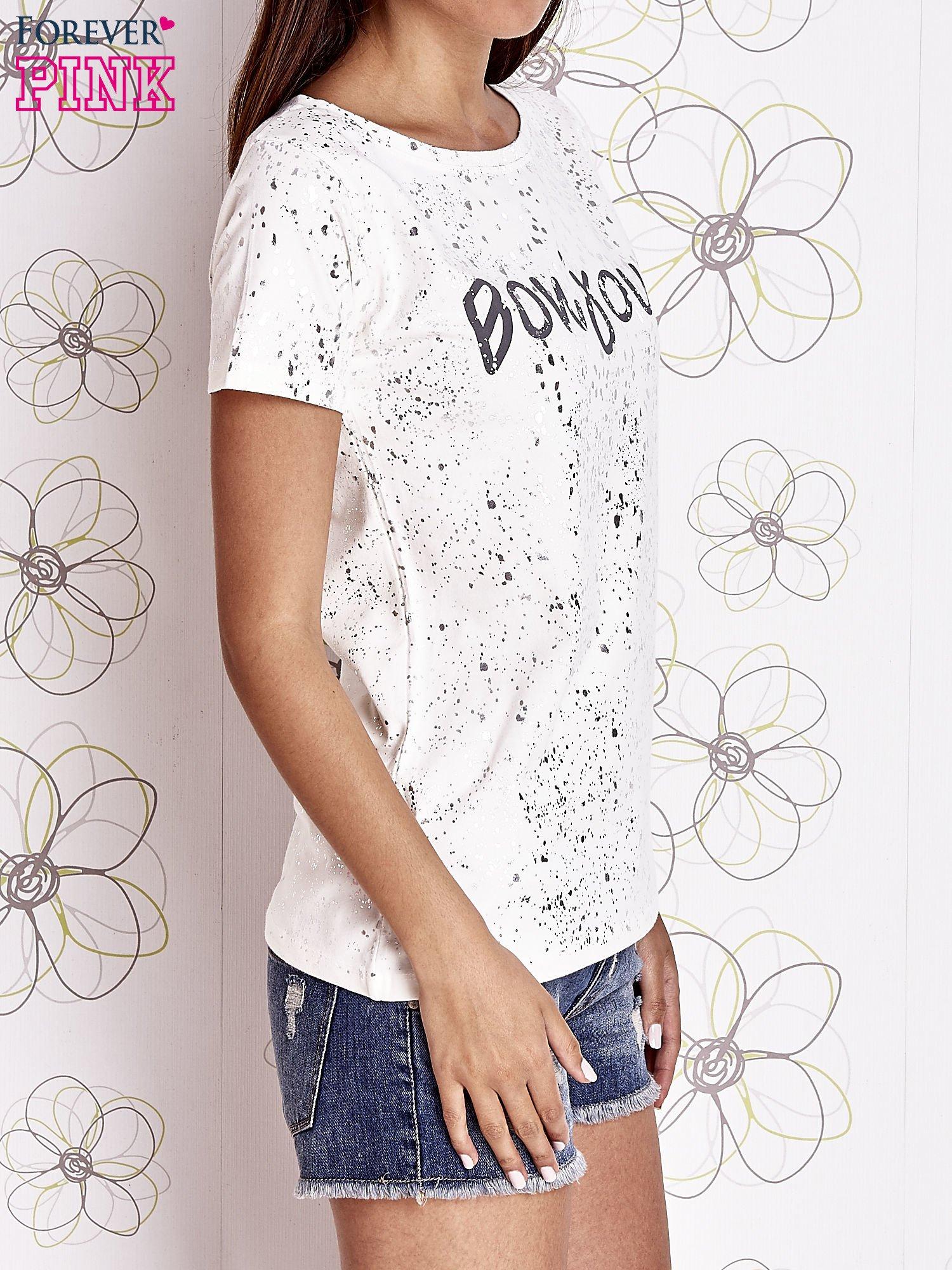 Ecru t-shirt z napisem BONJOUR                                  zdj.                                  3