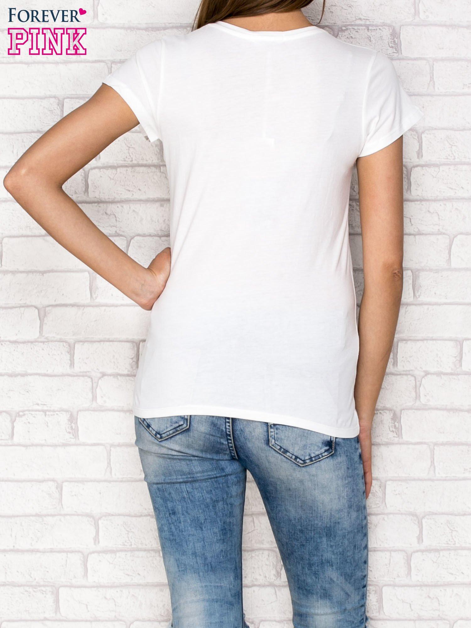 Ecru t-shirt z napisem GANG                                  zdj.                                  2