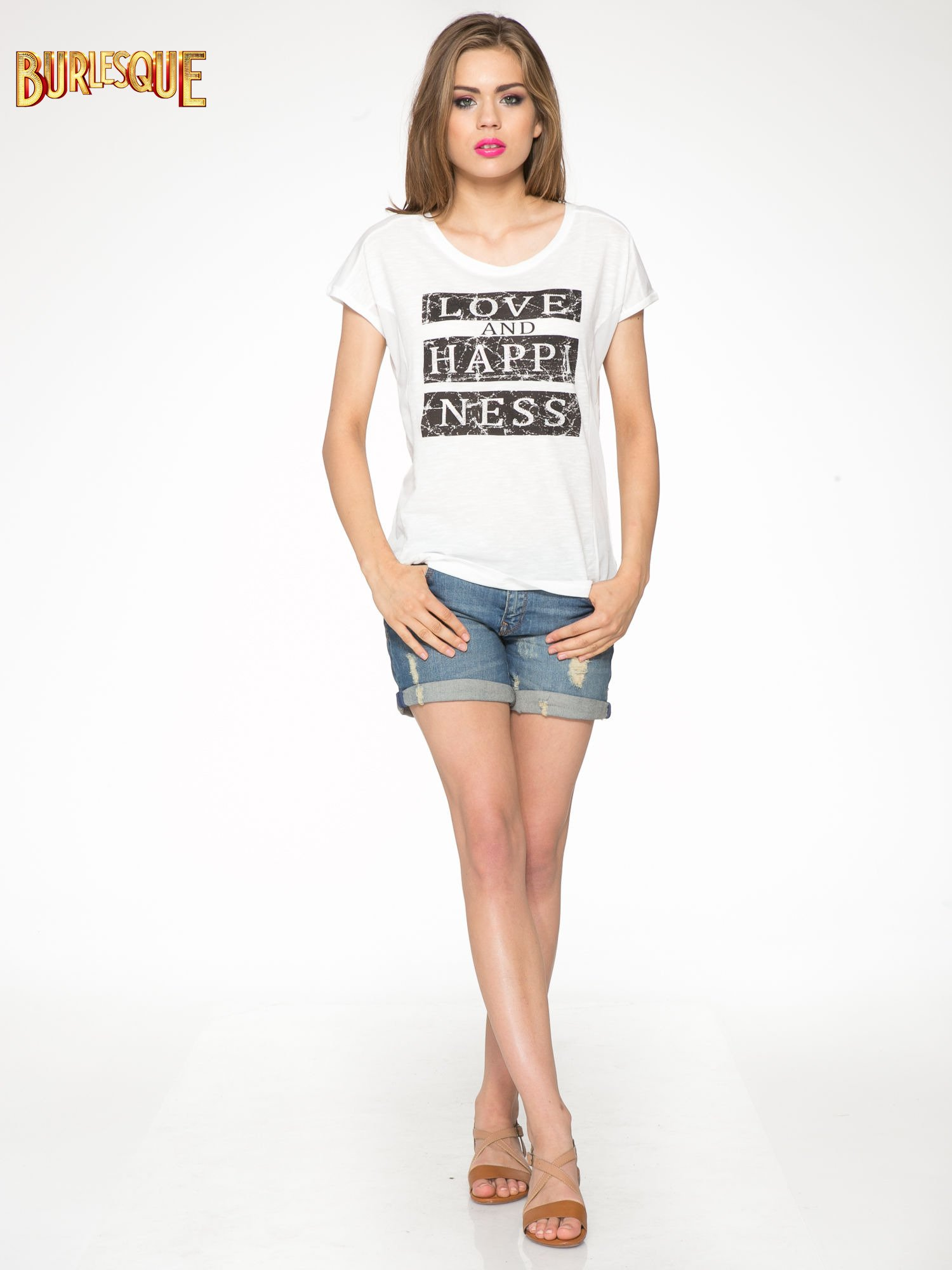 Ecru t-shirt z napisem LOVE AND HAPPINESS                                  zdj.                                  2