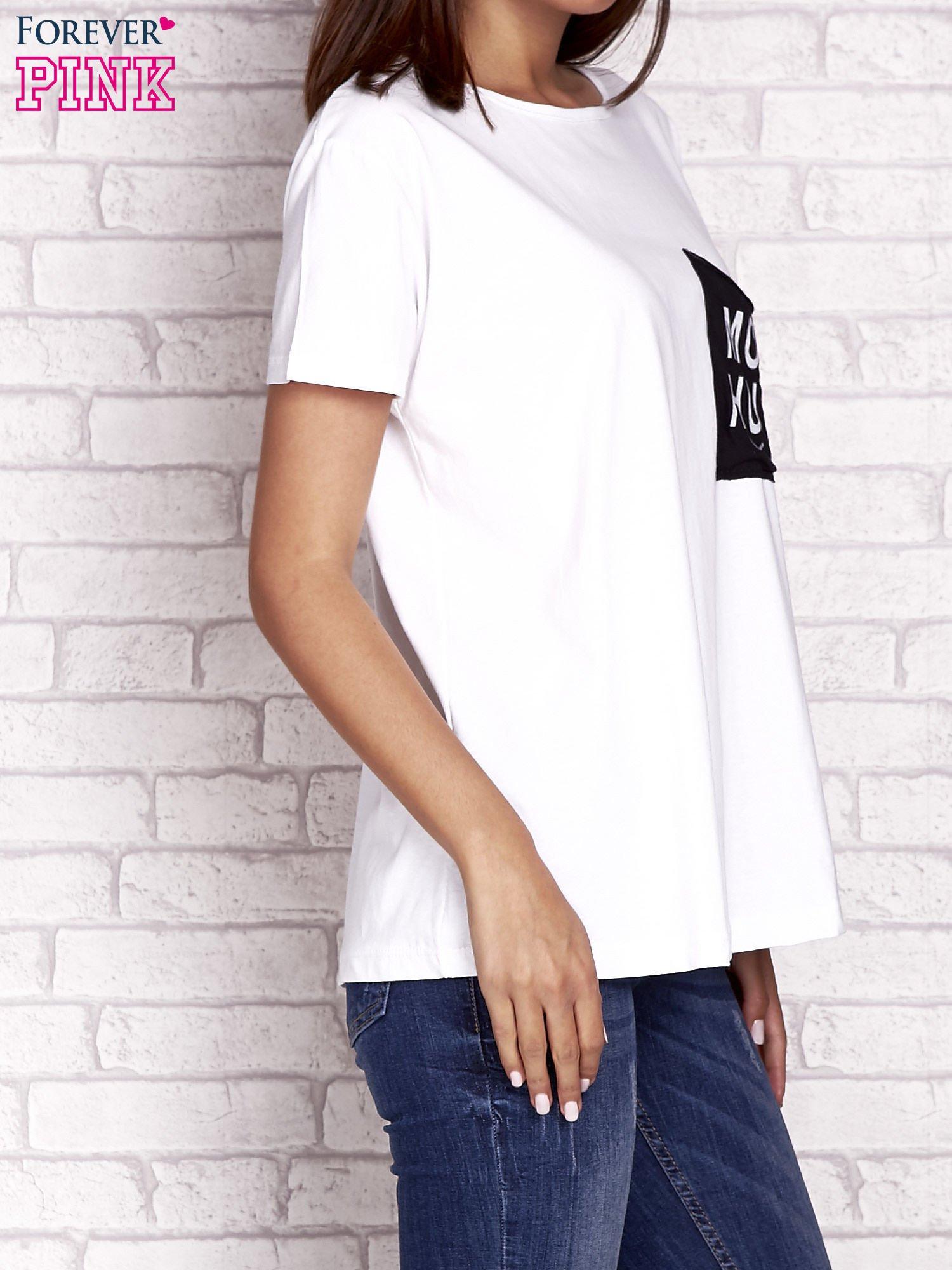 Ecru t-shirt z napisem MORE HUGS                                  zdj.                                  3