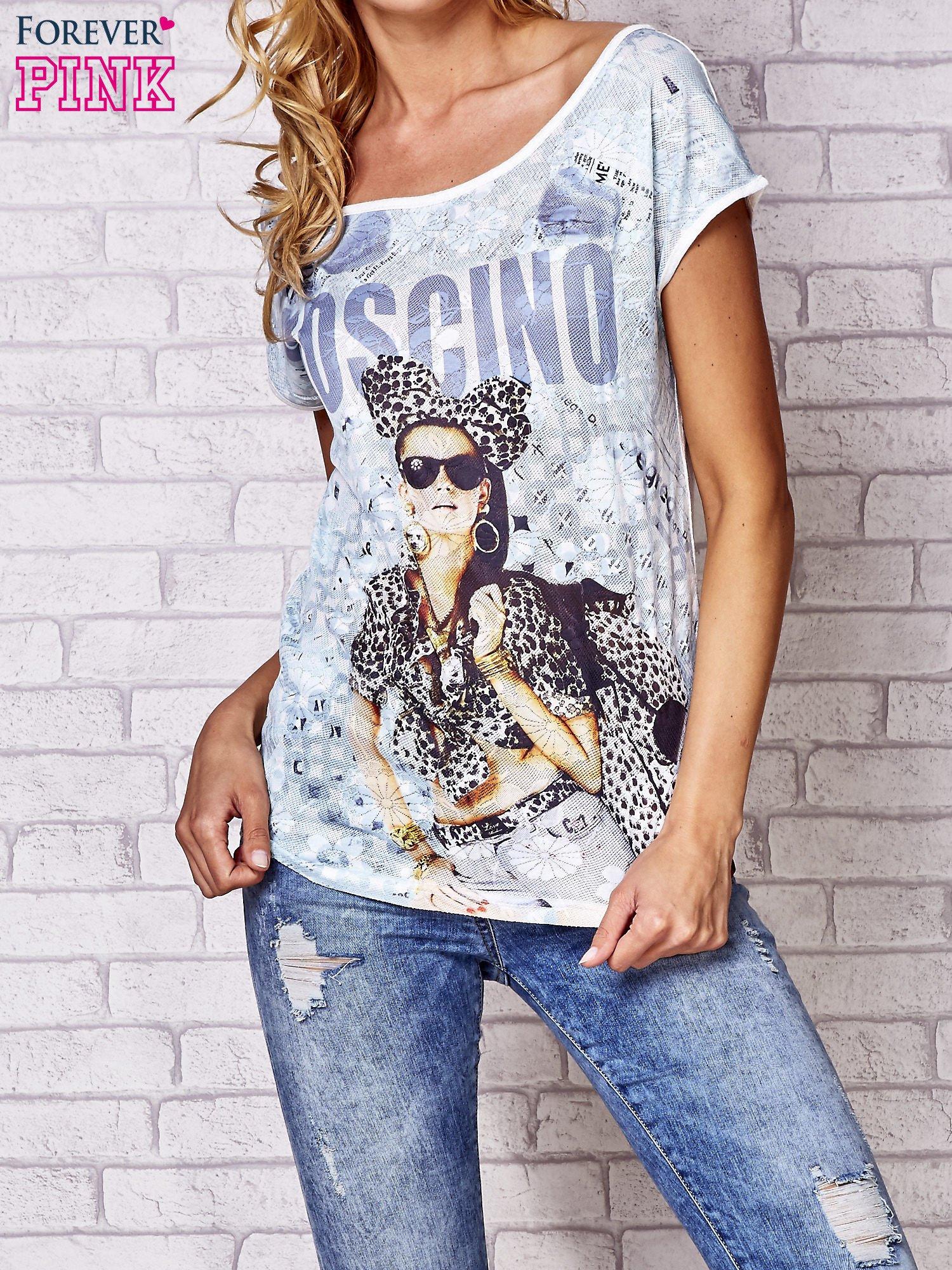 Ecru t-shirt z napisem MOSCINO                                  zdj.                                  1