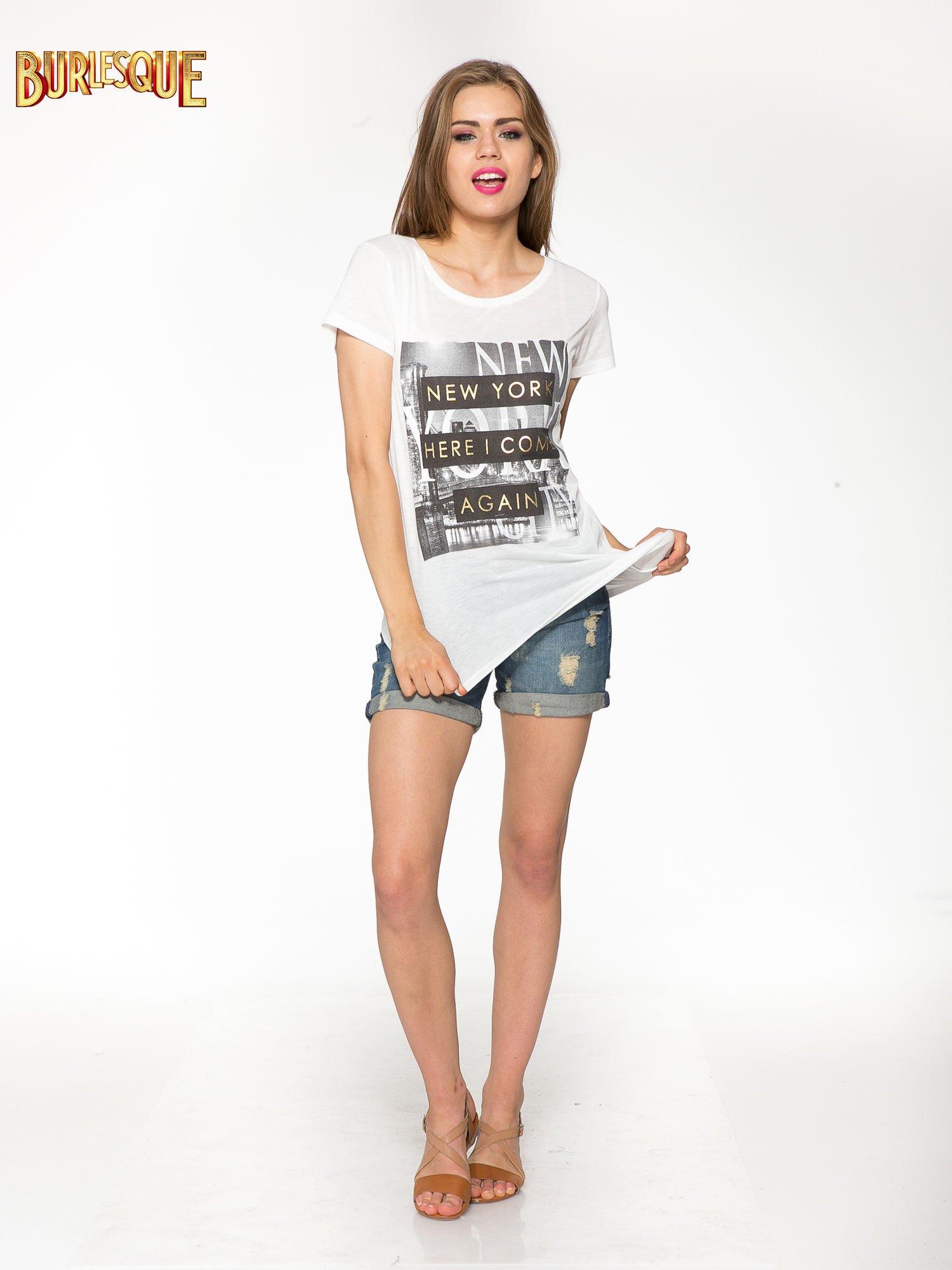 Ecru t-shirt ze złotym napisem NEW YORK HERE I COME AGAIN                                  zdj.                                  2