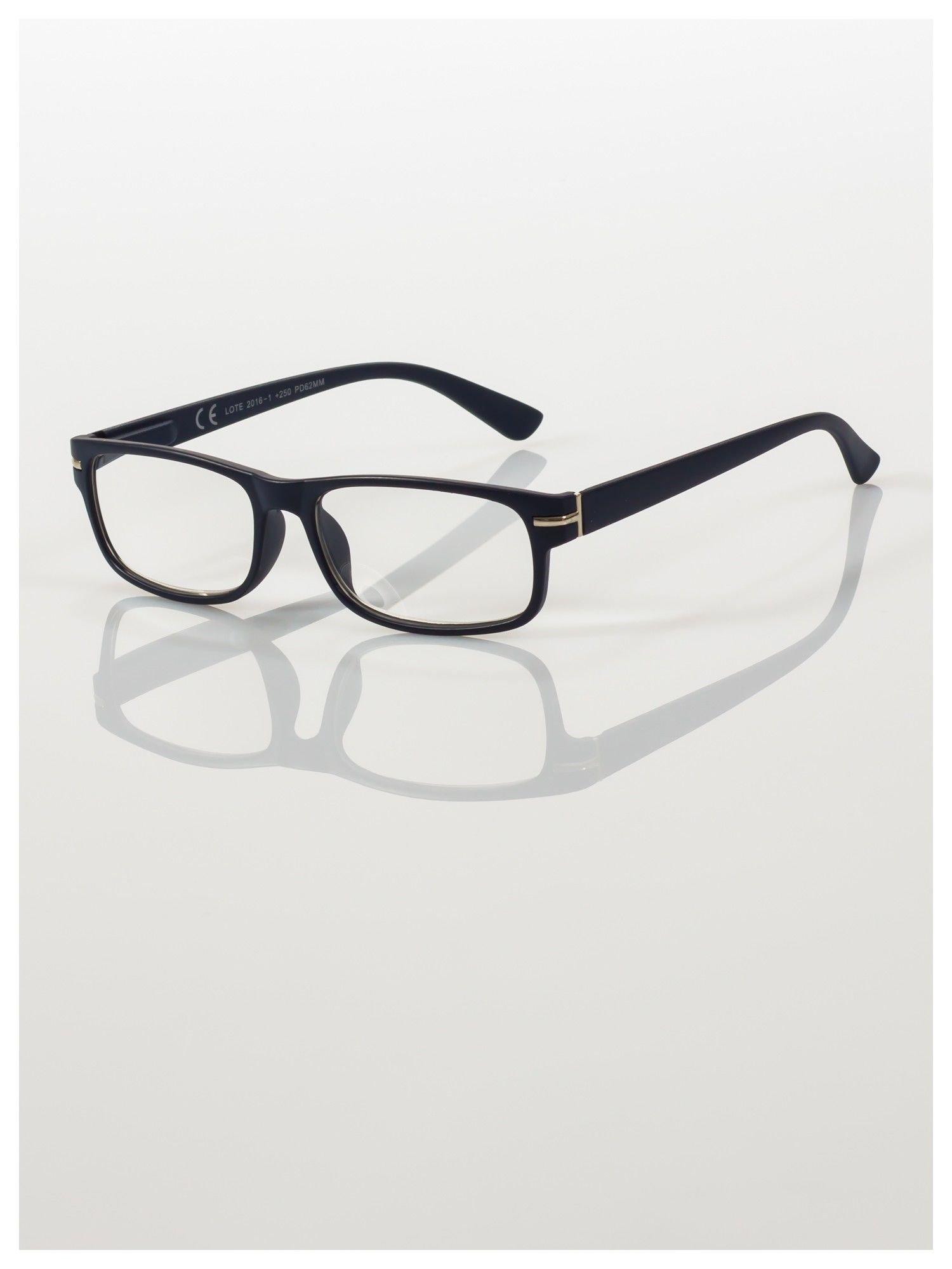 Eleganckie granatowe matowe korekcyjne okulary do czytania +2.0 D  z sytemem FLEX na zausznikach                                  zdj.                                  1