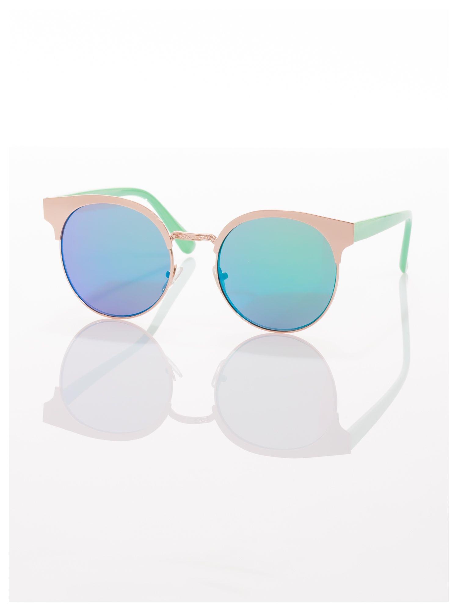 FASHION okulary przeciwsłoneczne KOCIE OCZY stylizowane na FENDI zielono-złote                                  zdj.                                  1