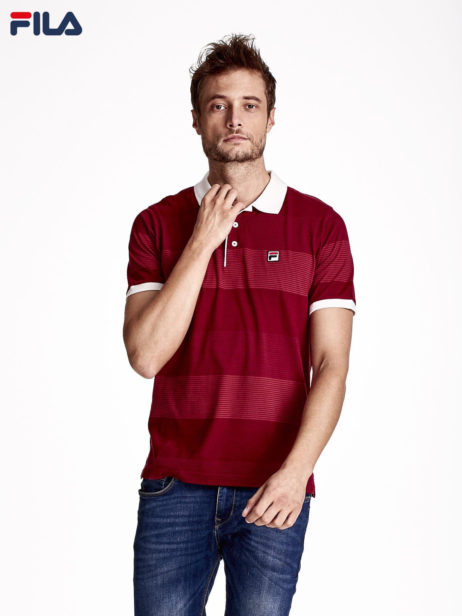 0b117d505b98 FILA Czerwony t-shirt koszulka polo męska w paski - Mężczyźni ...