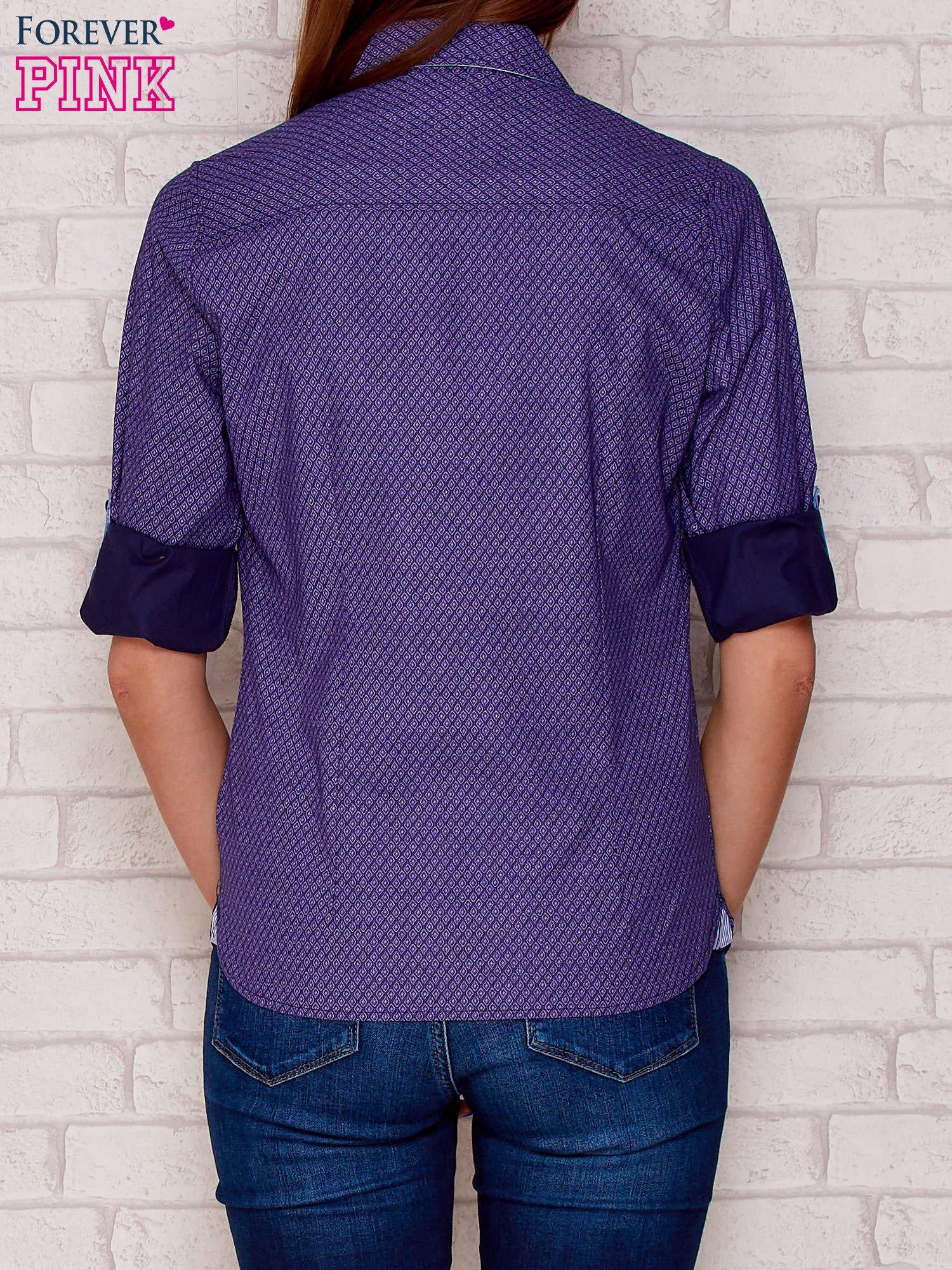 Fioletowa koszula w drobne romby