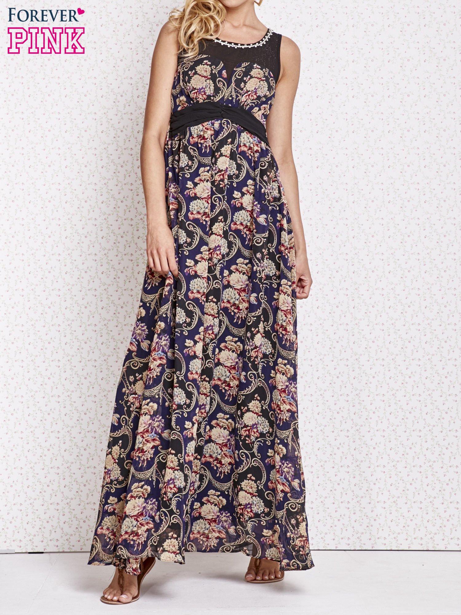 Fioletowa kwiatowa sukienka maxi z biżuteryjnym dekoltem                                  zdj.                                  1