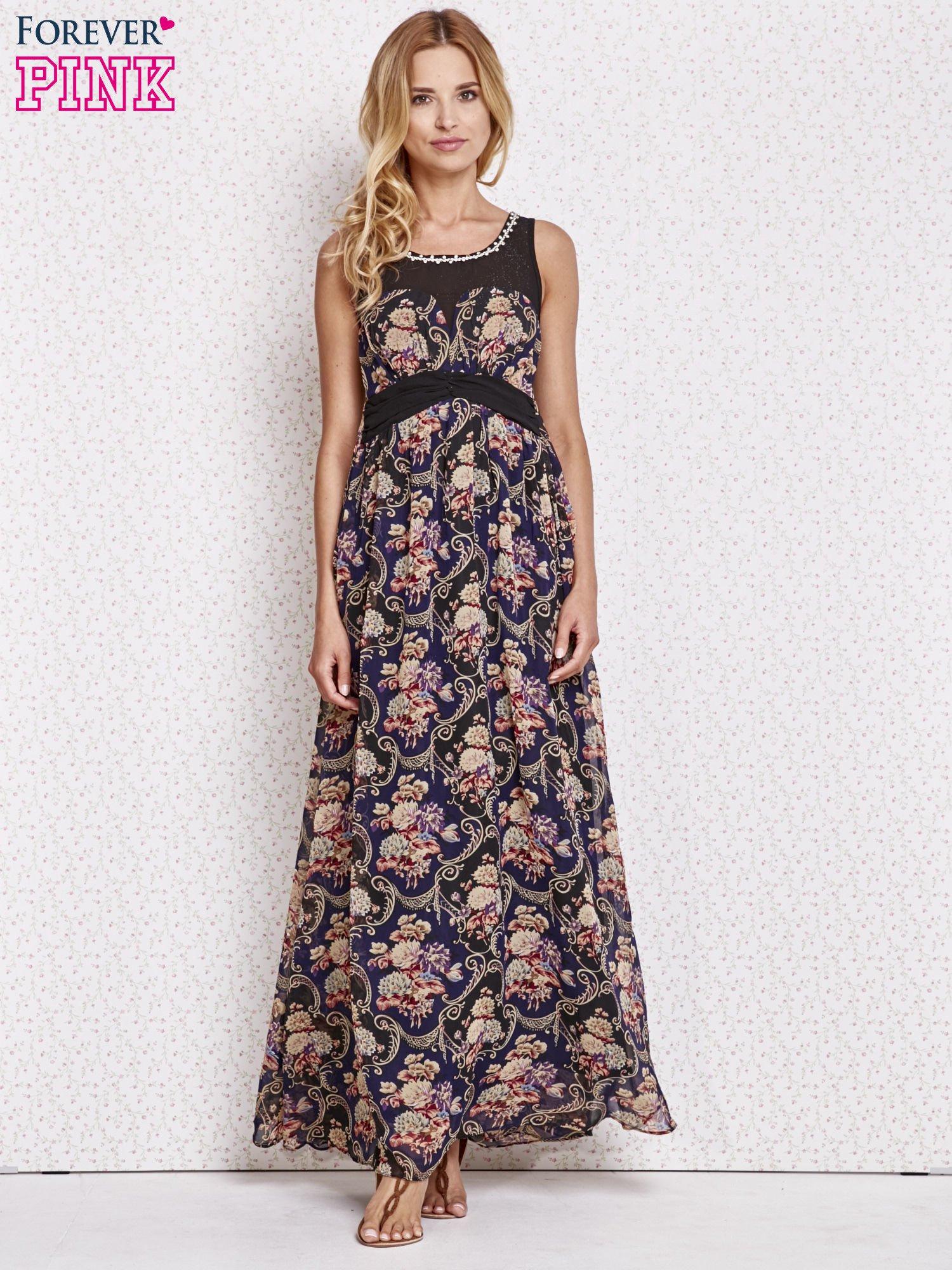 Fioletowa kwiatowa sukienka maxi z biżuteryjnym dekoltem                                  zdj.                                  4