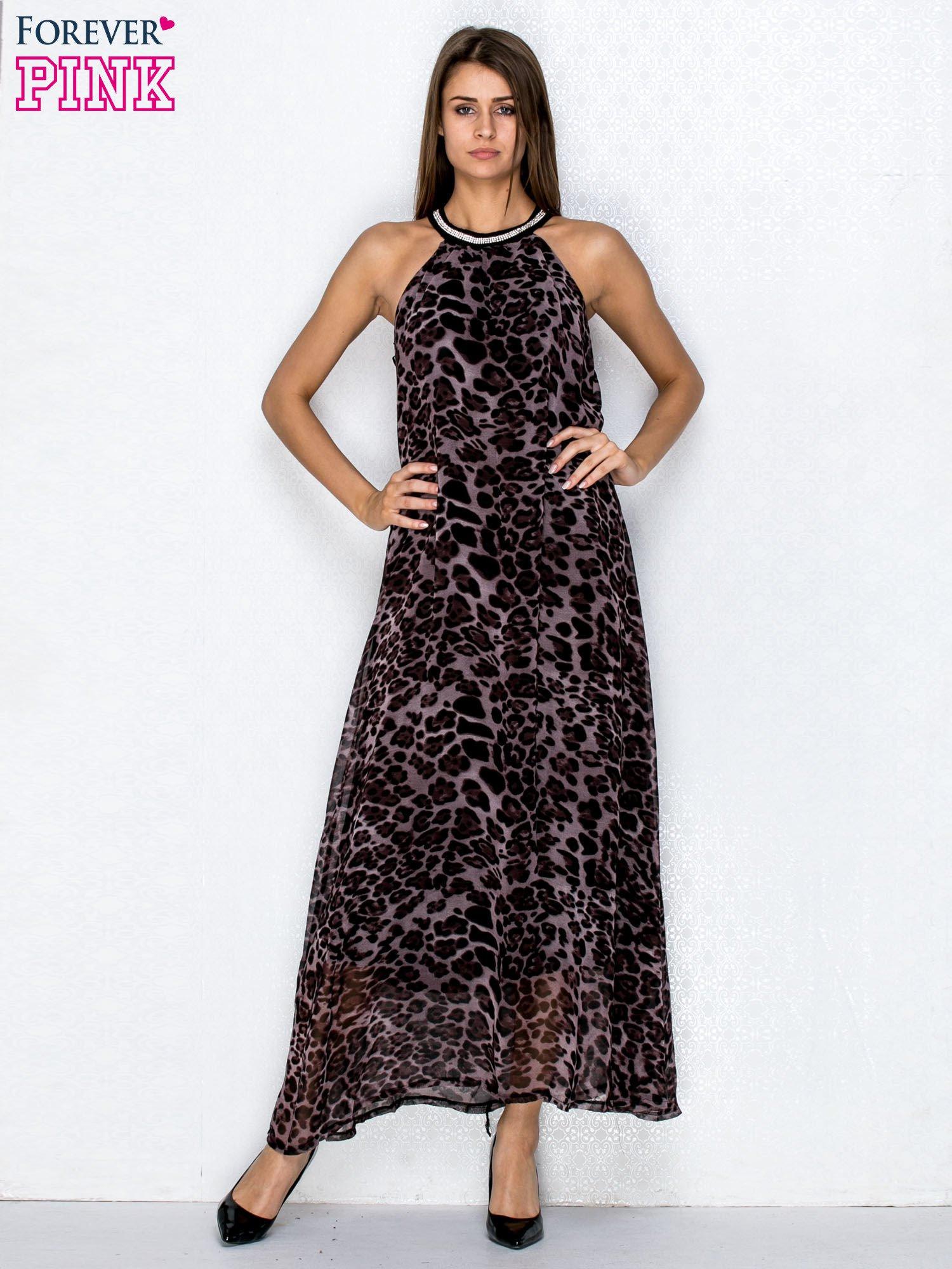 Fioletowa sukienka maxi w panterę z biżuteryjnym dekoltem                                  zdj.                                  4