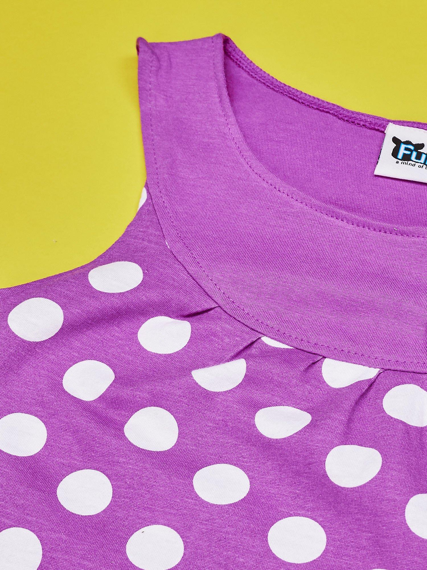 Fioletowa sukienka w groszki dla dziewczynki FURBY                                  zdj.                                  4