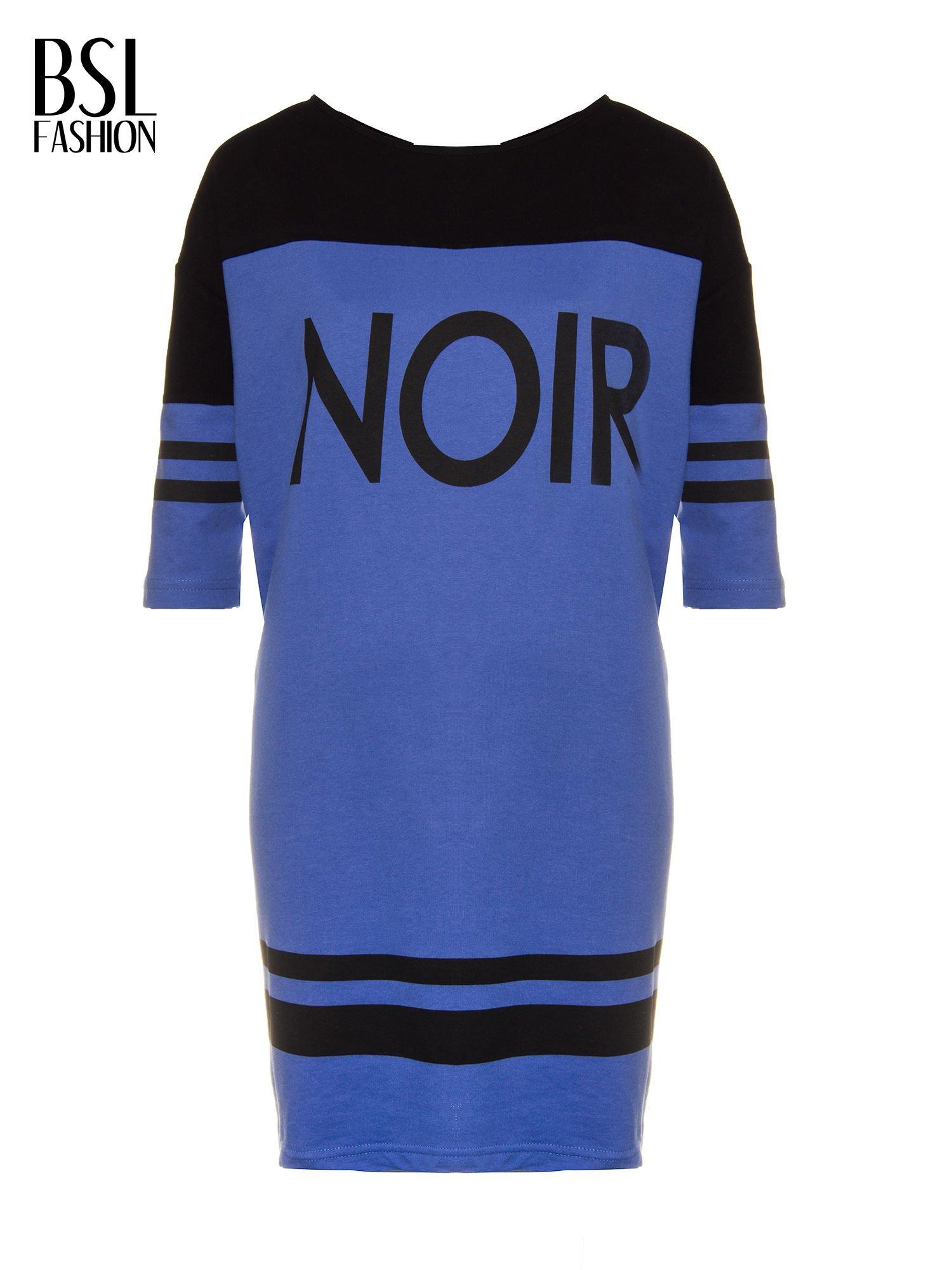 Fioletowa sukienka z napisem NOIR w stylu sportowym                                  zdj.                                  5