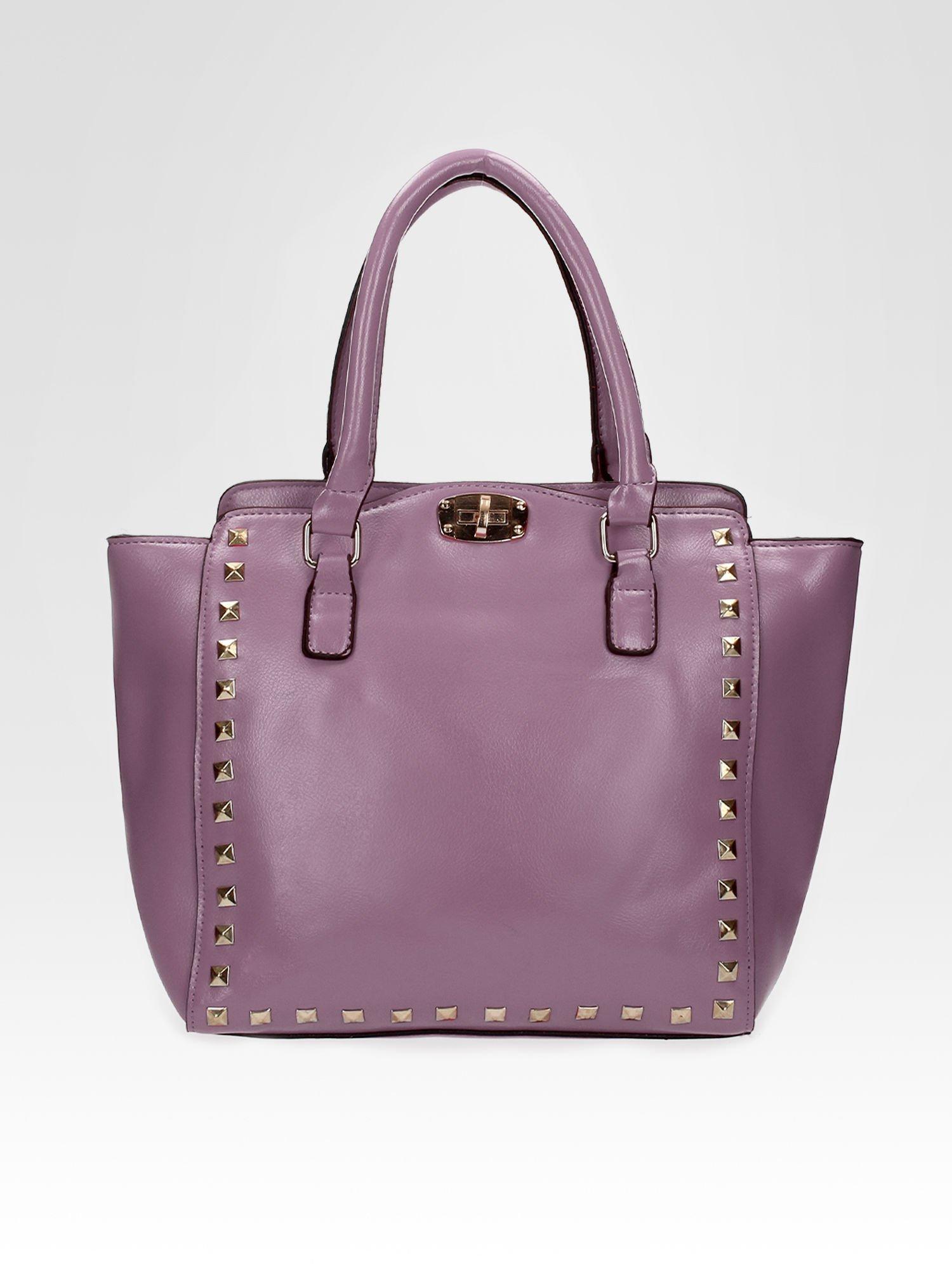 Fioletowa torebka na ramię z dżetami                                  zdj.                                  5