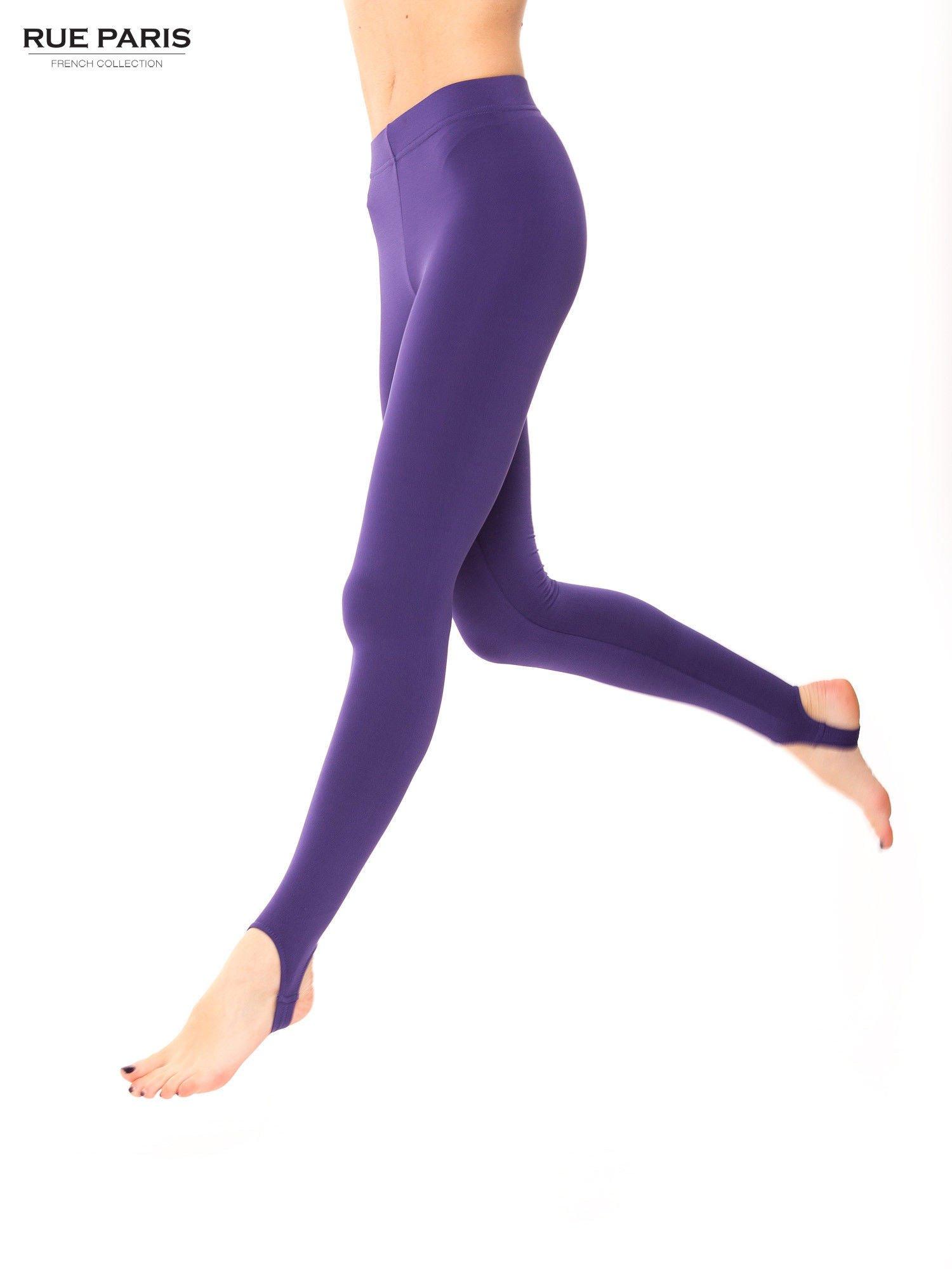 Fioletowe legginsy zakładane na stopę                                  zdj.                                  3