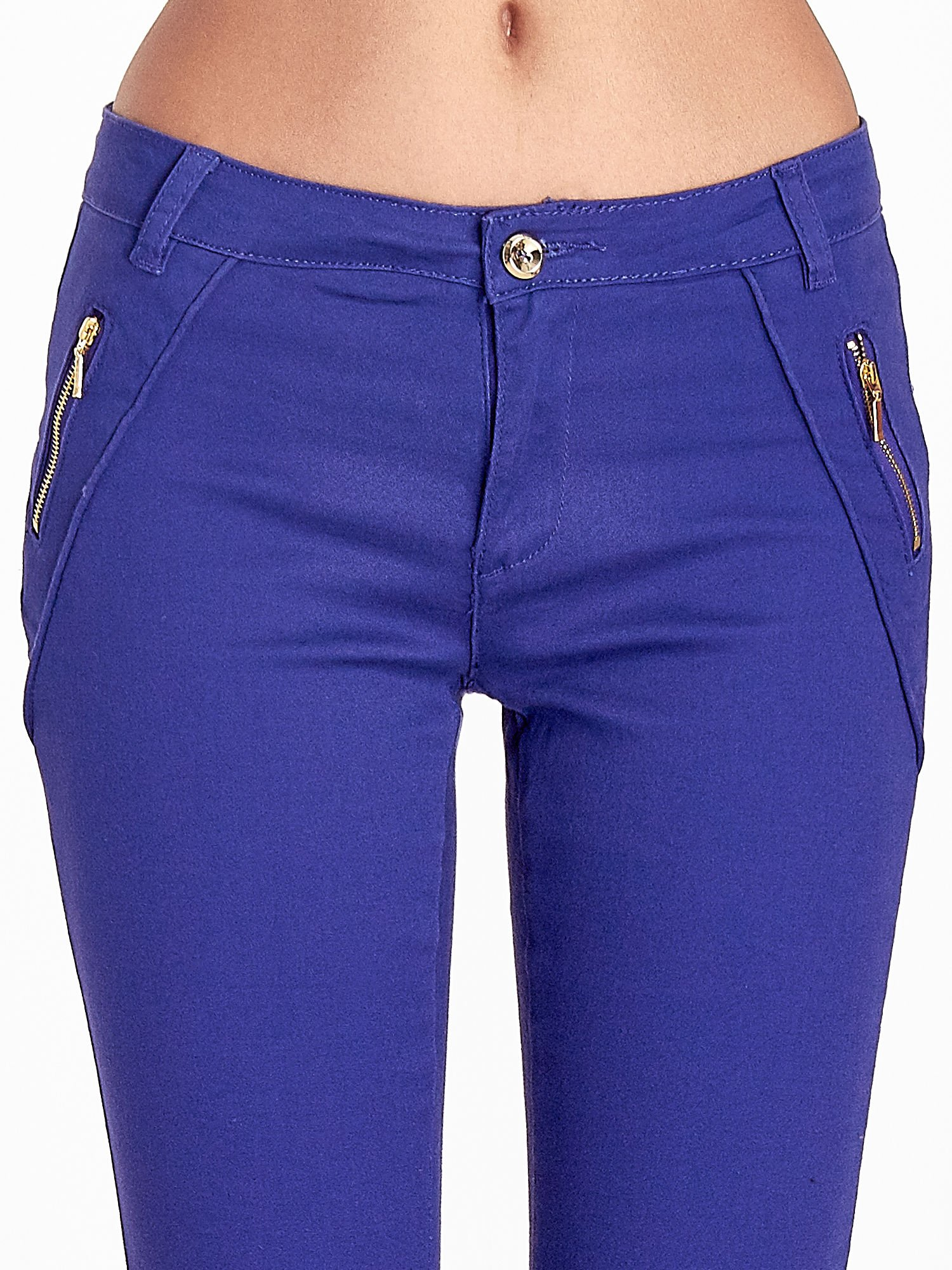 Fioletowe spodnie ze złotymi suwakami                                  zdj.                                  5