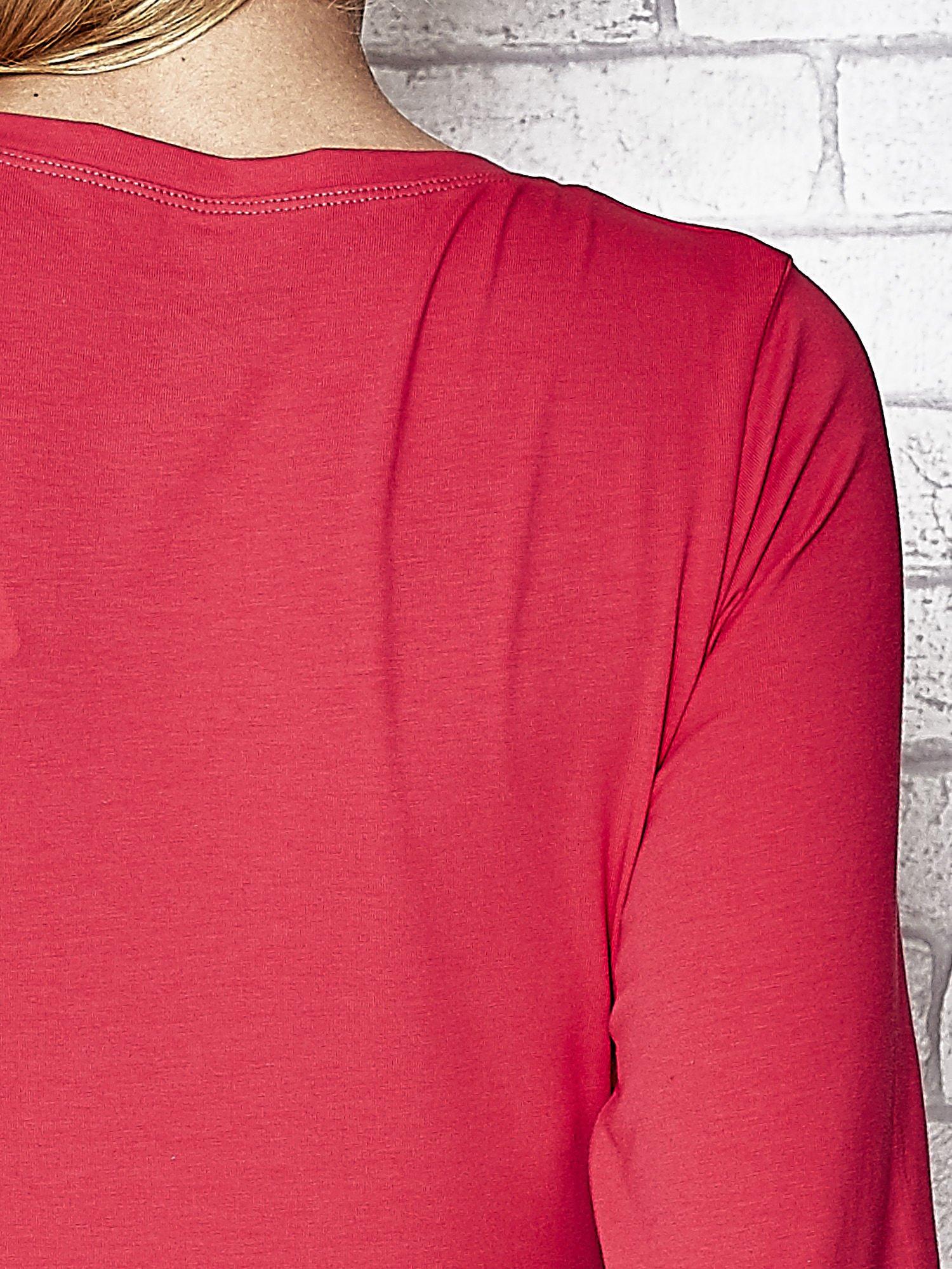 Fuksjowa bluzka sportowa z dekoltem U                                  zdj.                                  7