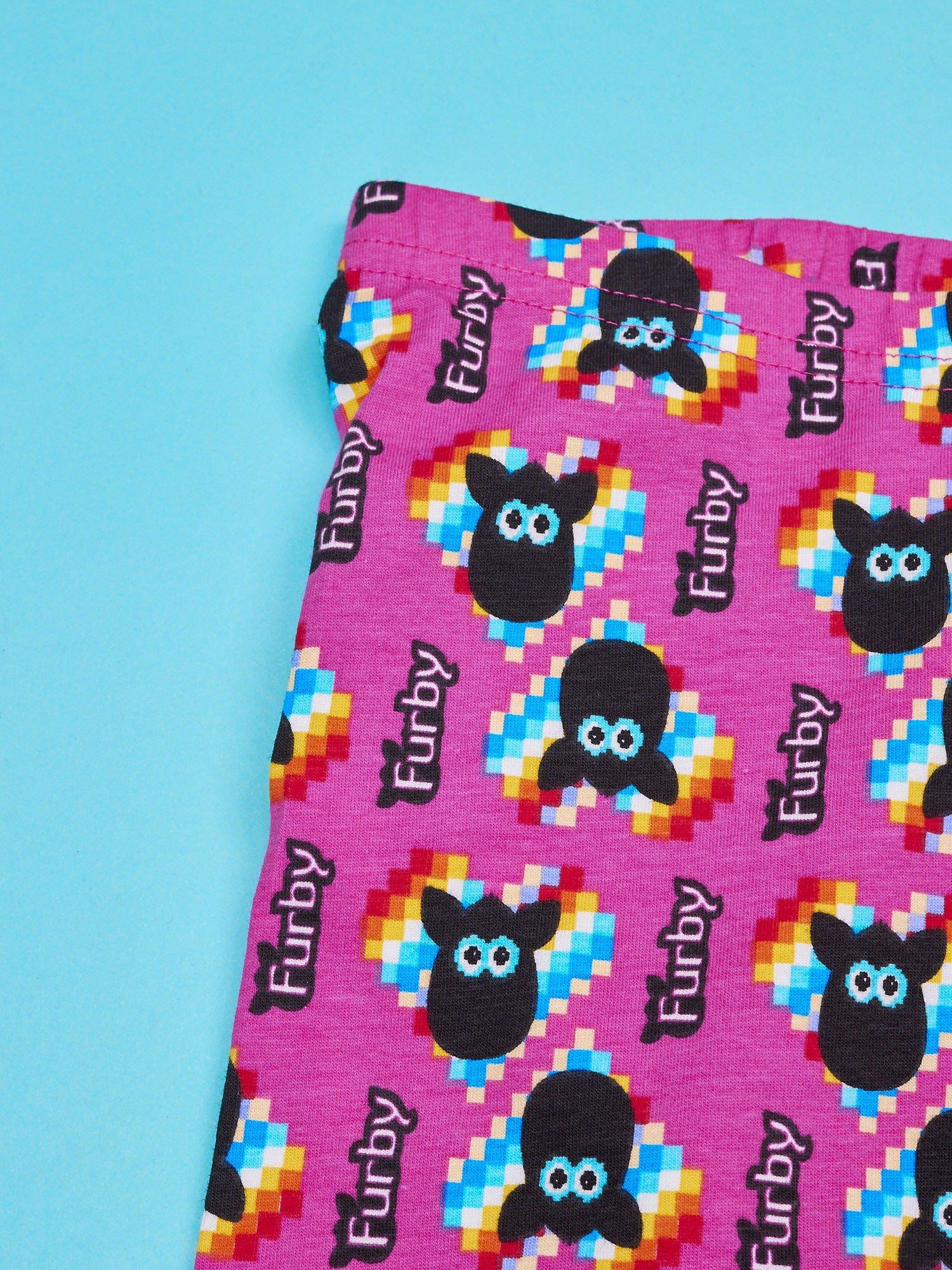 Fuksjowe legginsy dla dziewczynki z nadrukiem FURBY                                  zdj.                                  3