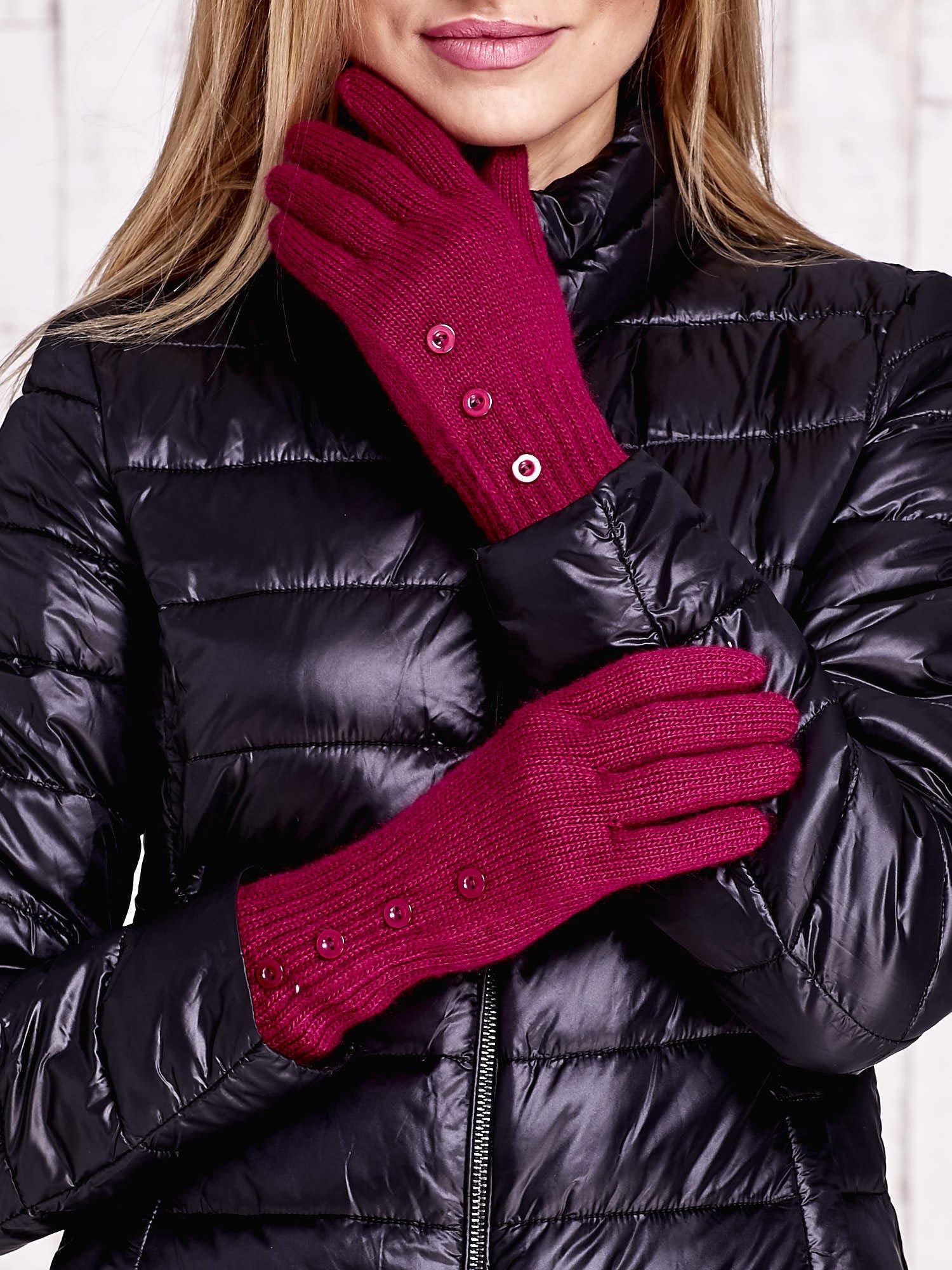 Fuksjowe rękawiczki z guzikami                                  zdj.                                  1