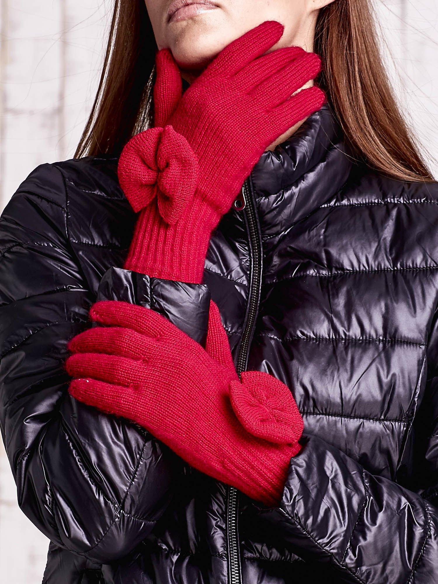 Fuksjowe rękawiczki z kokardką i długim ściągaczem                                  zdj.                                  1