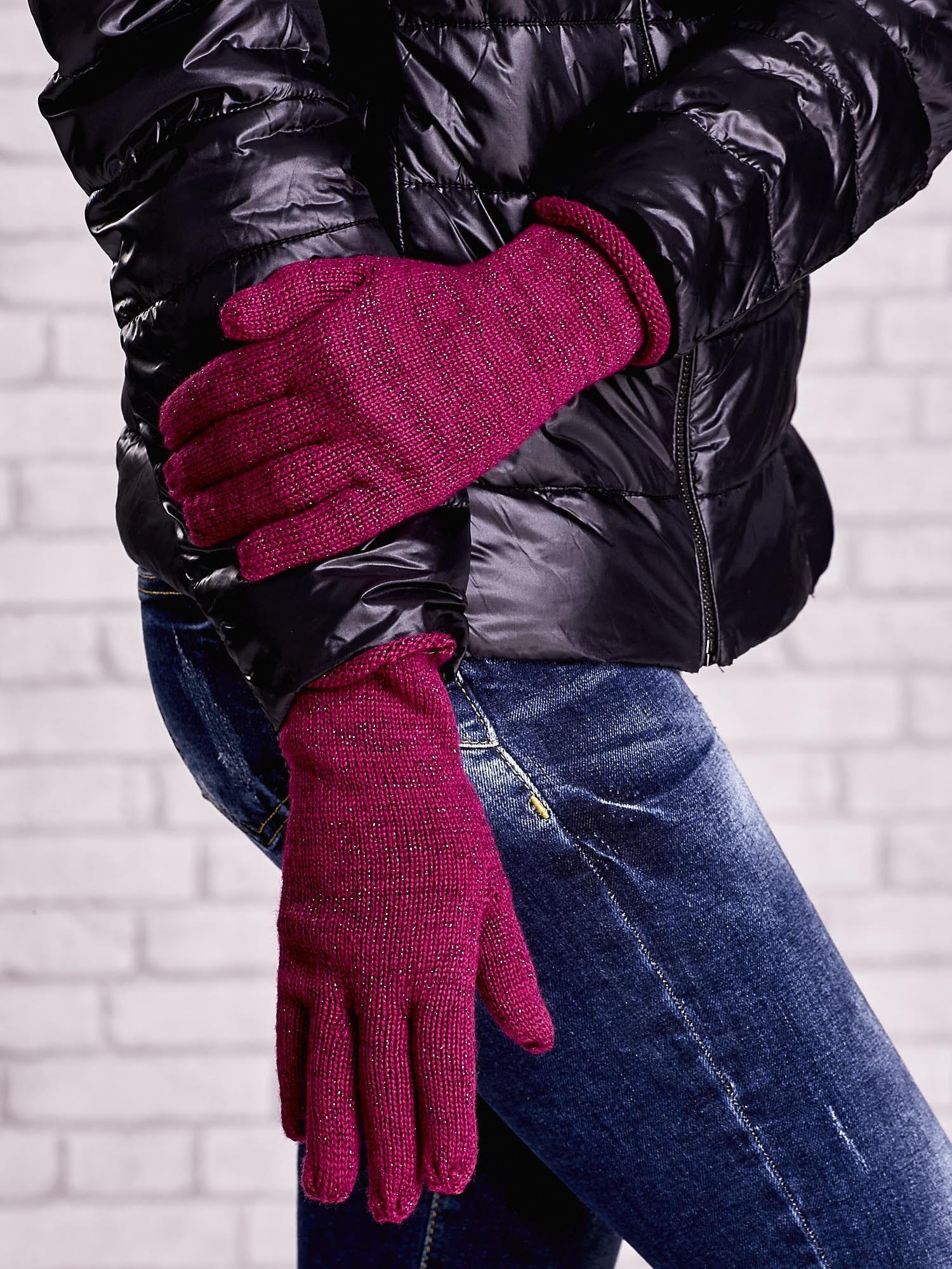 Fuksjowe rękawiczki z metalizowaną nicią z wywijanym mankietem                                  zdj.                                  3