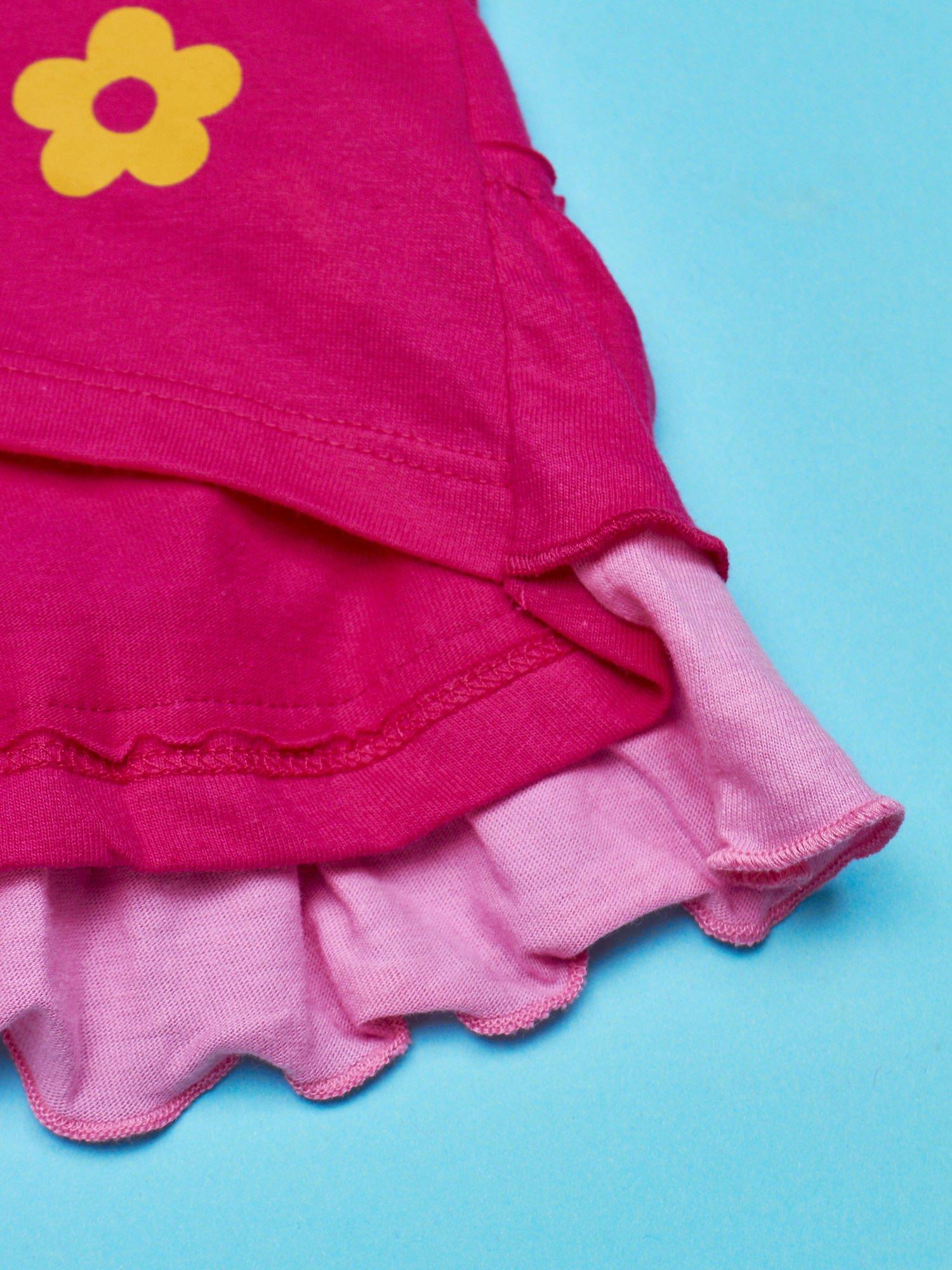 Fuksjowy t-shirt dla dziewczynki z falbankami HELLO KITTY                                  zdj.                                  5