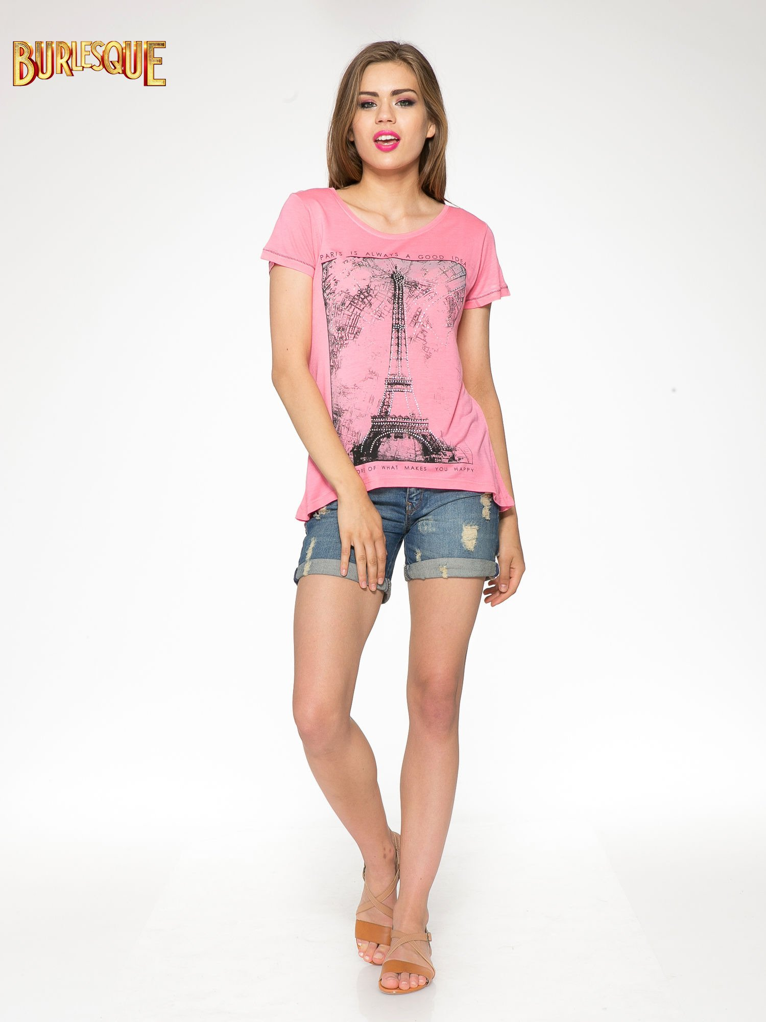 Fuksjowy t-shirt z nadrukiem wieży Eiffla                                  zdj.                                  2