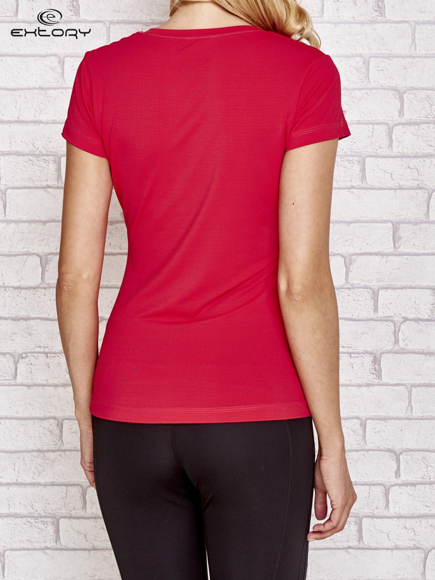 Fusjowy t-shirt sportowy w poziomy prążek                                  zdj.                                  2