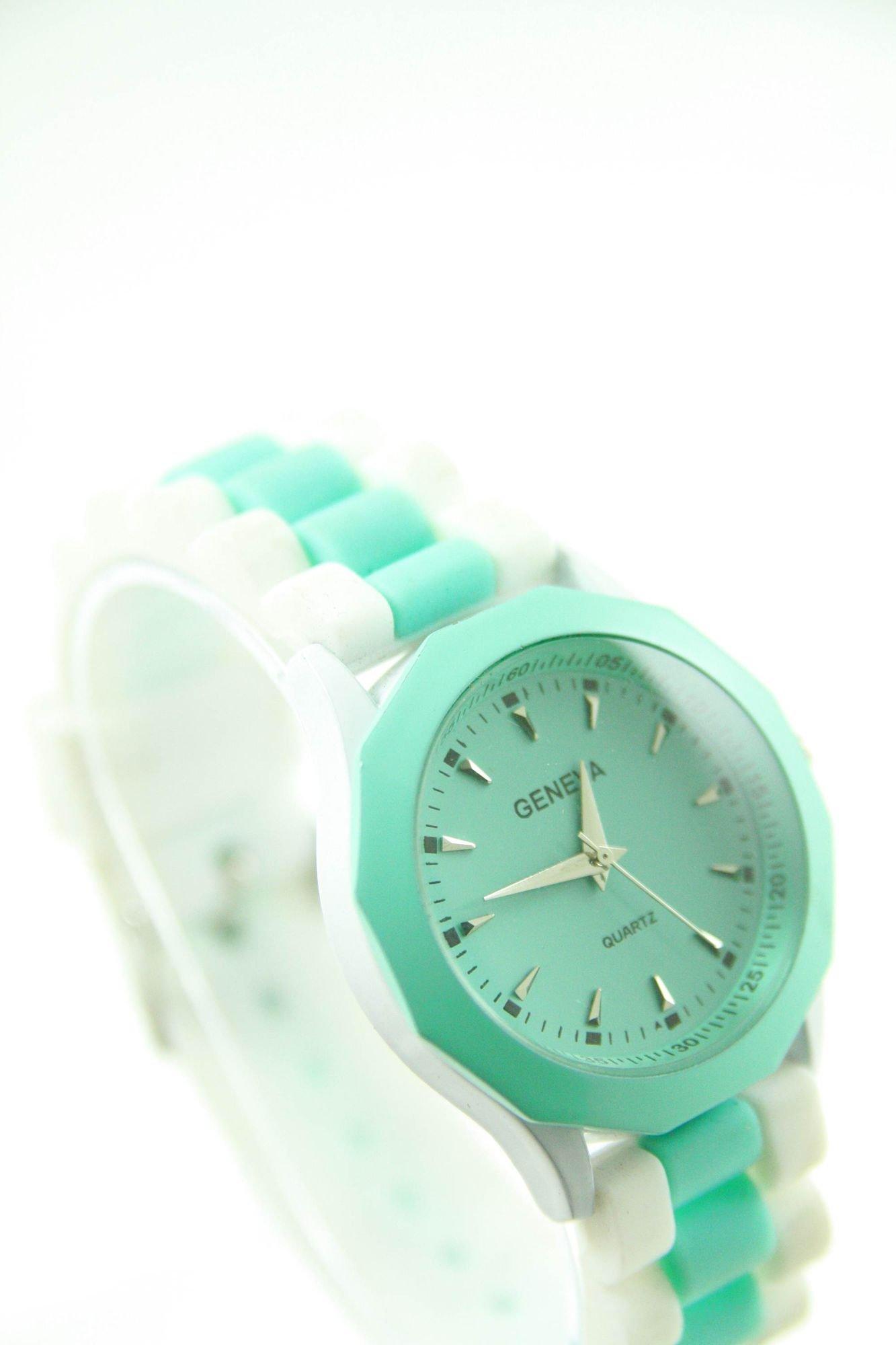 GENEVA Miętowo-biały zegarek damski na silikonowym pasku                                  zdj.                                  2