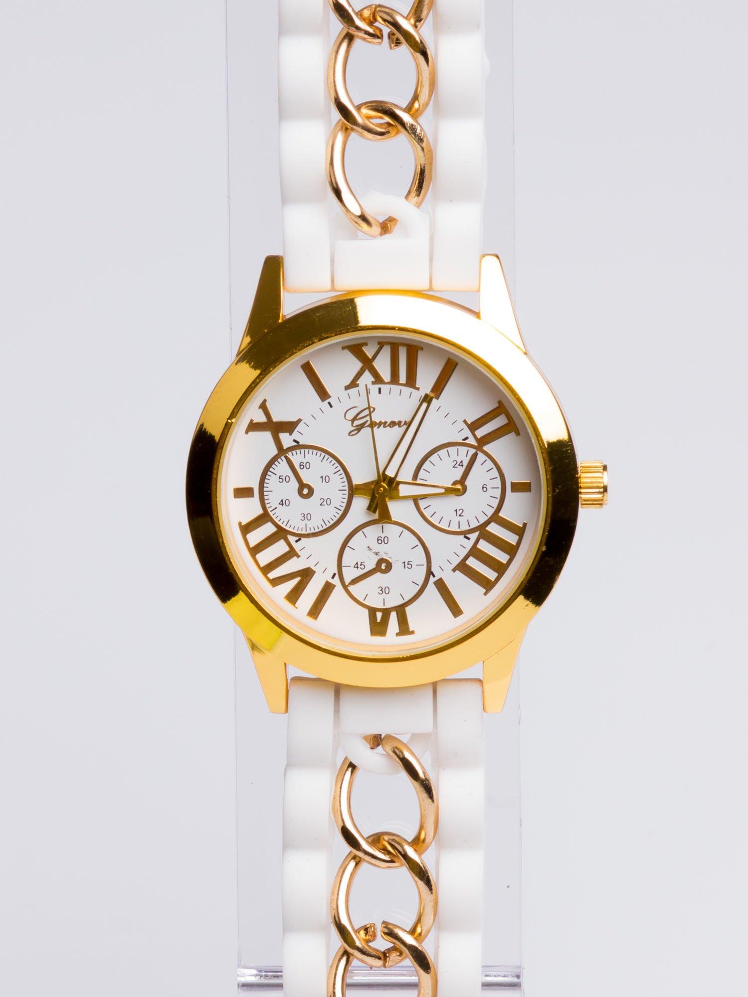 GENEVA Modny biały damski zegarek ze złotym łańcuszkiem na pasku                                  zdj.                                  3
