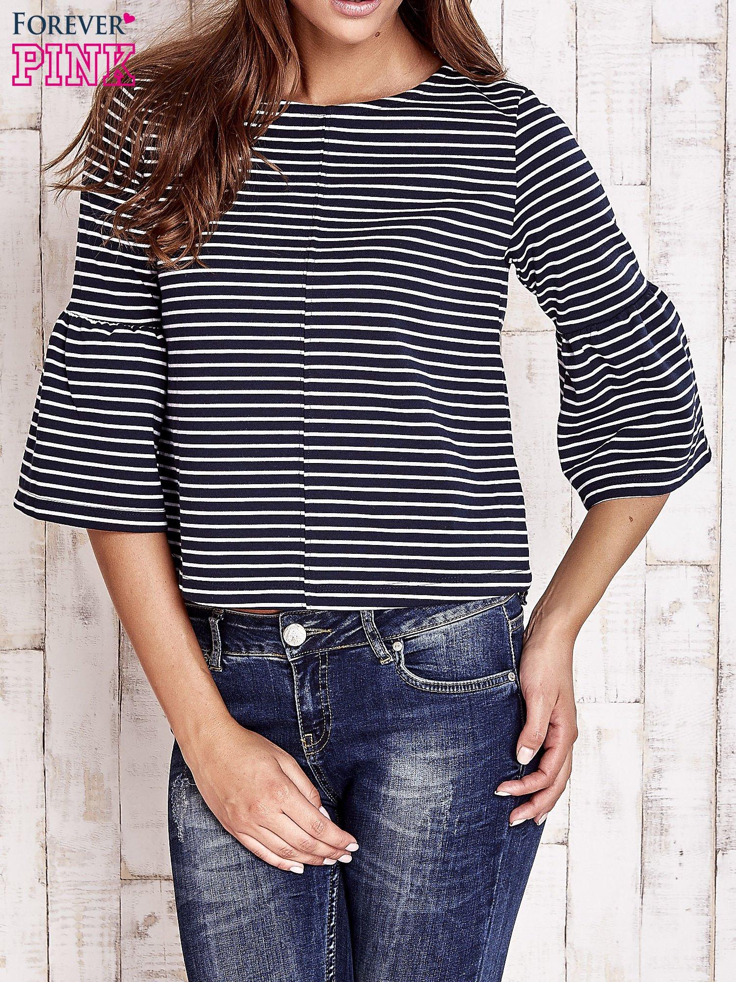 Granatowa bluzka w paski z suwakiem na plecach                                  zdj.                                  1