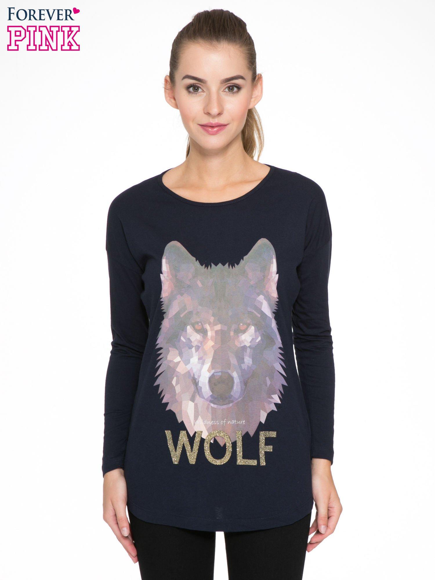 Granatowa bluzka z nadrukiem wilka i brokatowym napisem WOLF                                  zdj.                                  1