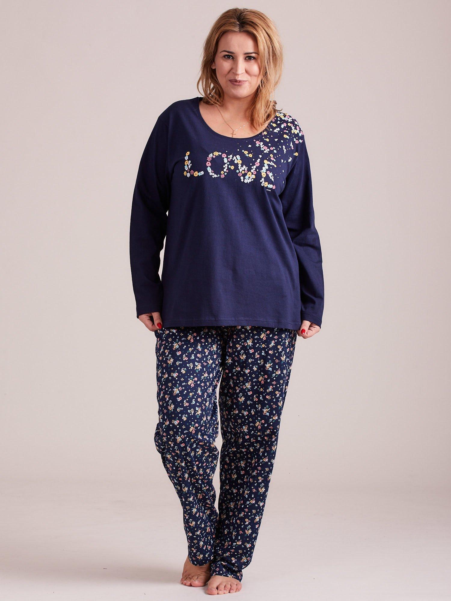 25baf1216056bb Granatowa damska piżama w kwiaty PLUS SIZE - Bielizna piżama - sklep ...