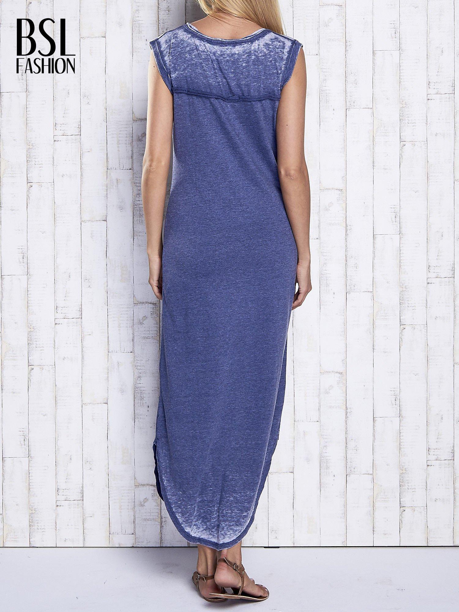Granatowa długa sukienka acid wash                                   zdj.                                  2