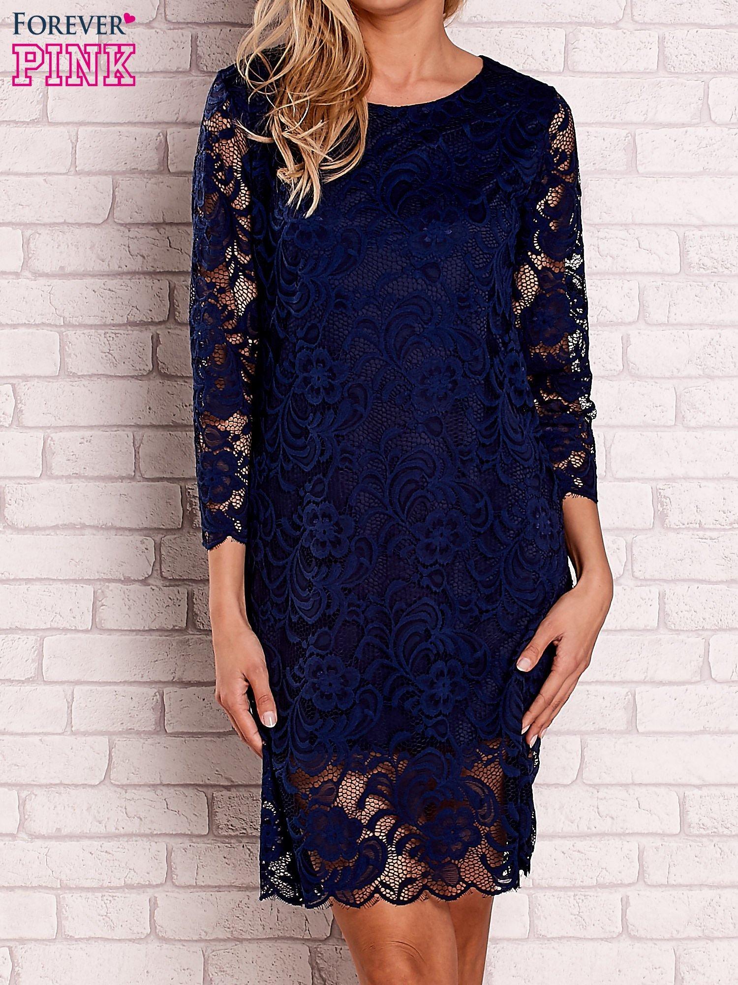 bd3dc98416 Granatowa koronkowa sukienka z wiązaniem na plecach - Sukienka ...
