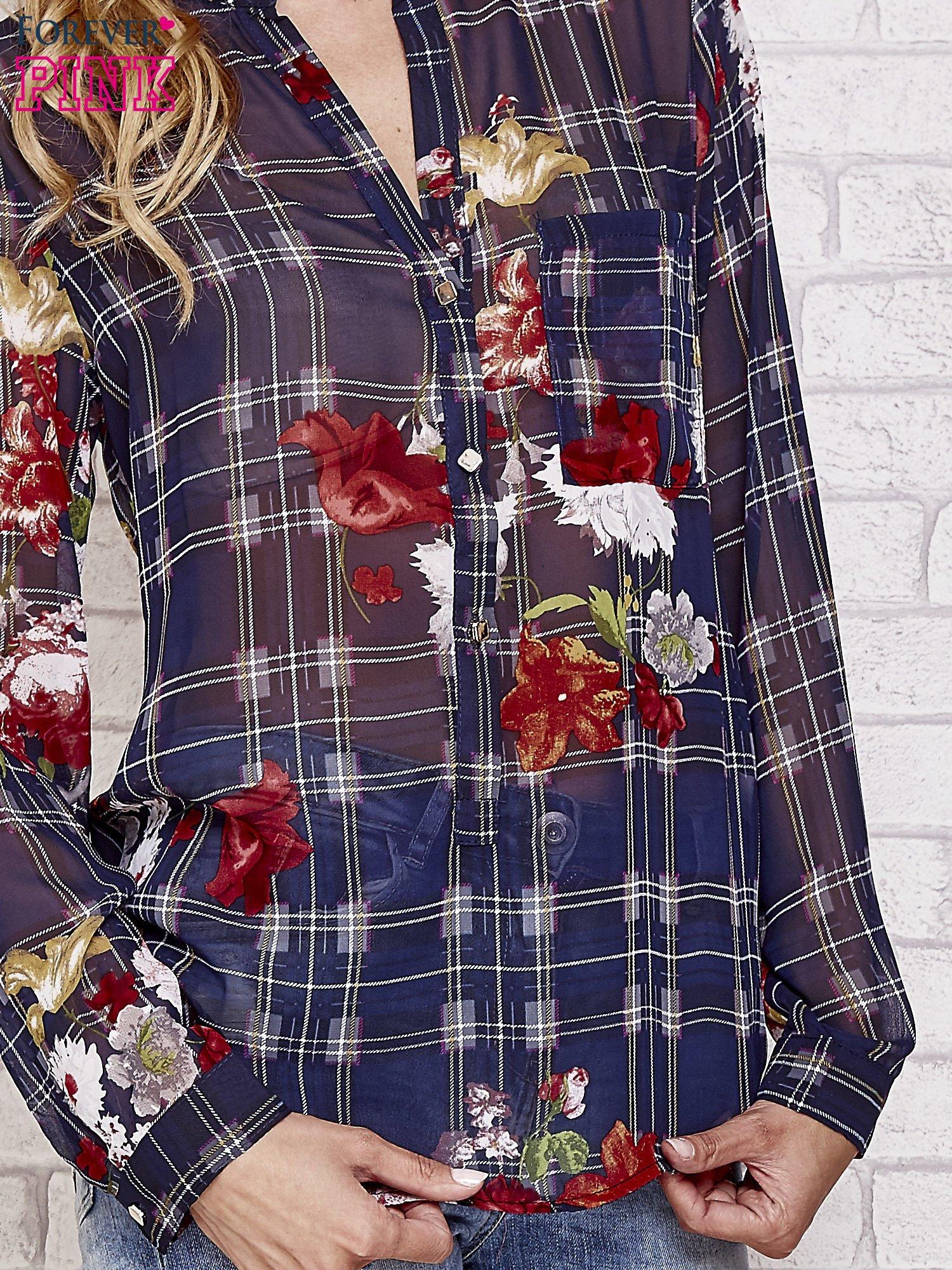 Granatowa koszula w kratę z kwiatami                                  zdj.                                  4