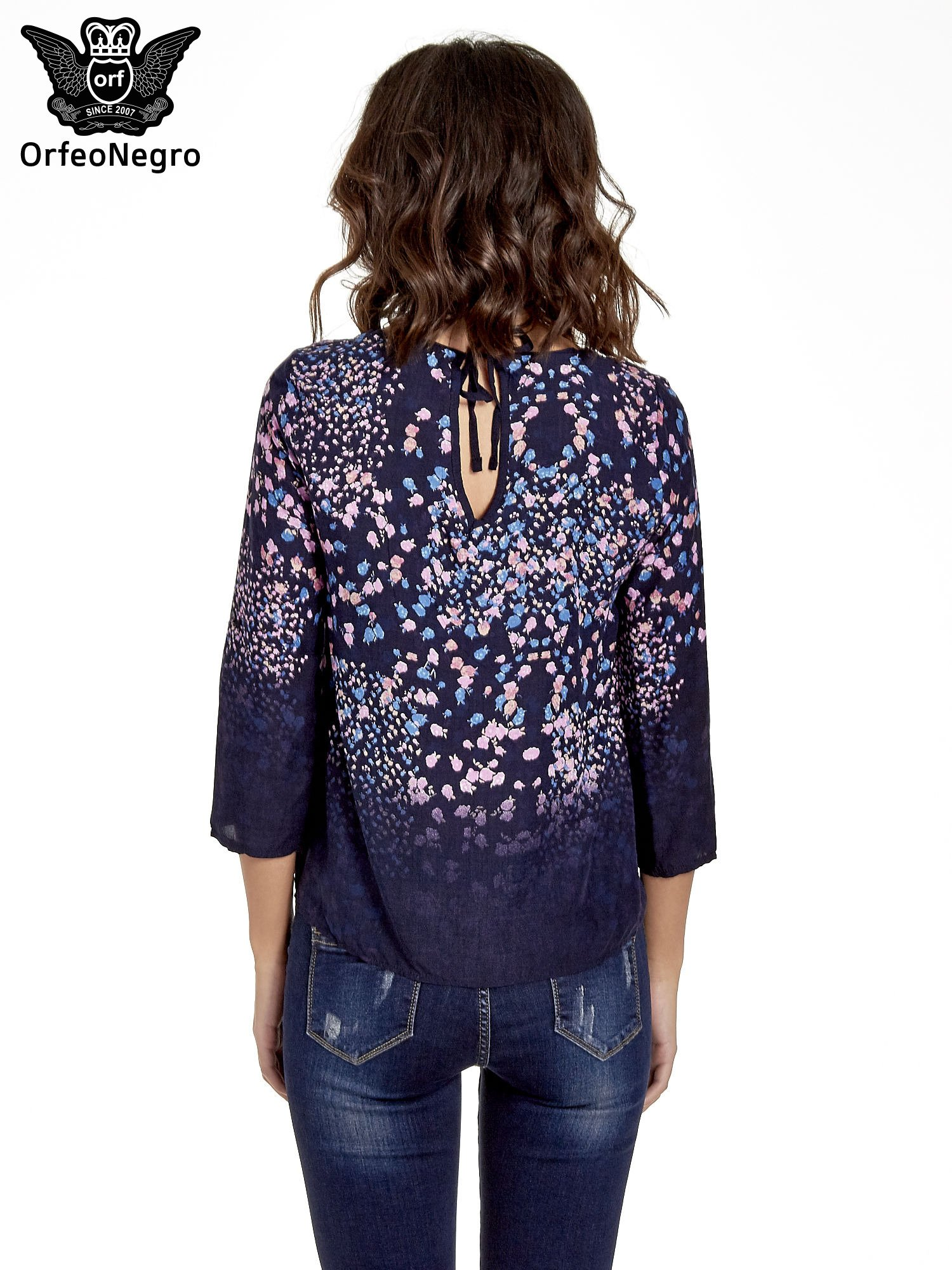 Granatowa koszula w łączkę z efektem ombre                                  zdj.                                  4