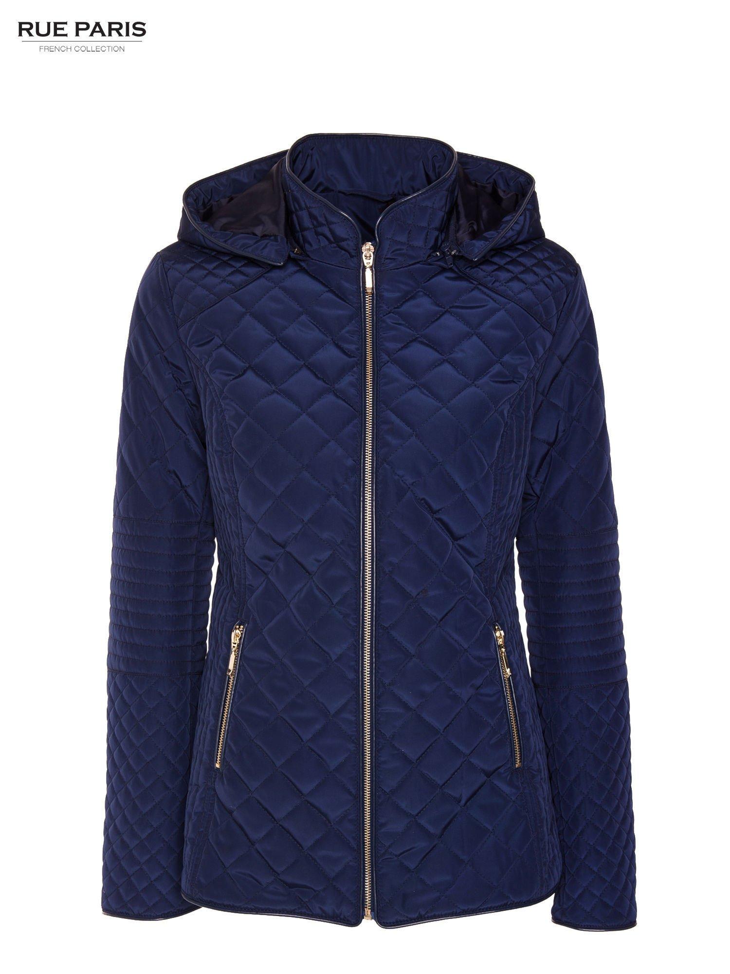 Granatowa pikowana kurtka z kapturem w stylu husky                                  zdj.                                  11