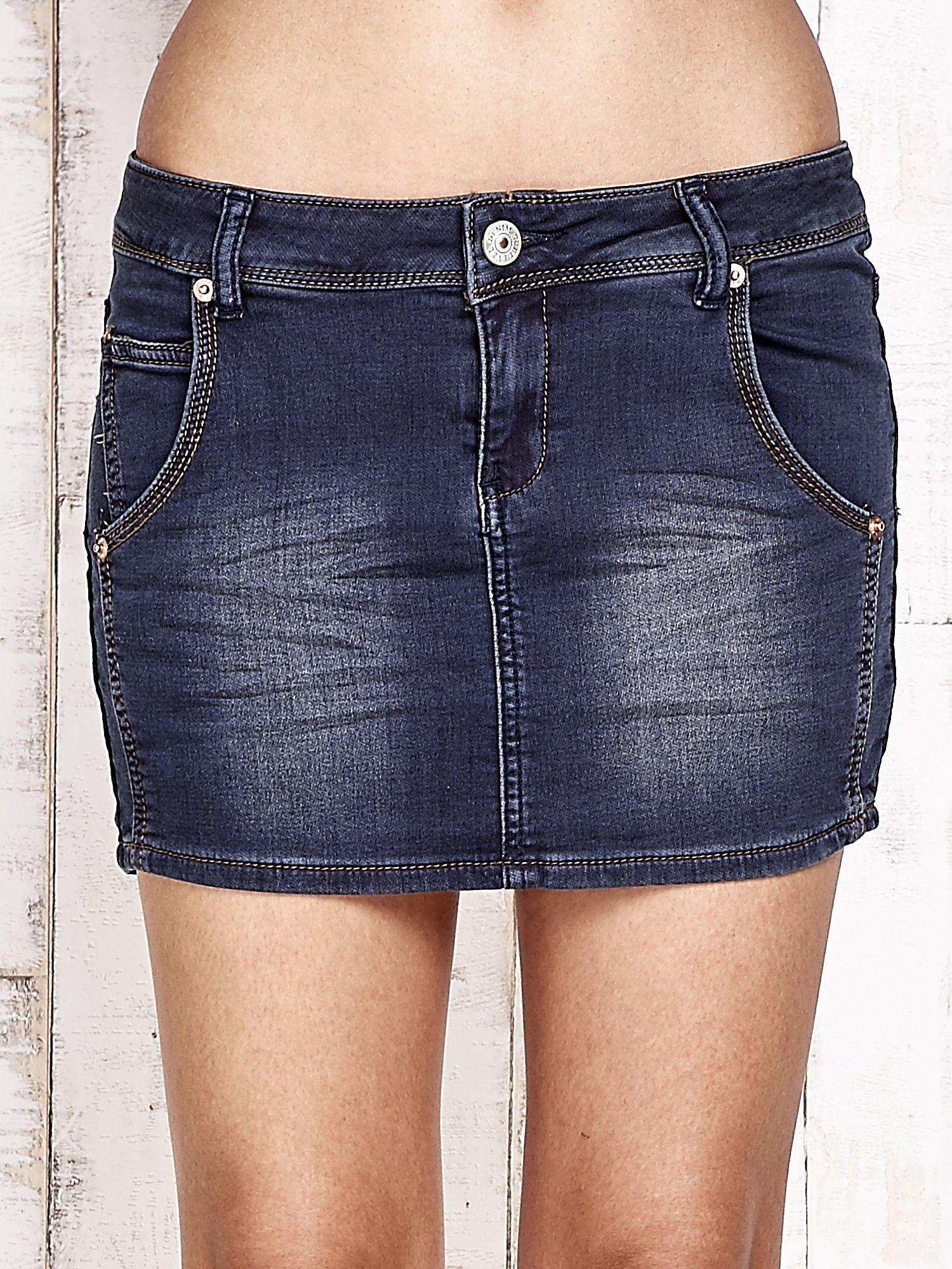 Granatowa spódnica jeansowa z przetarciami                                   zdj.                                  1