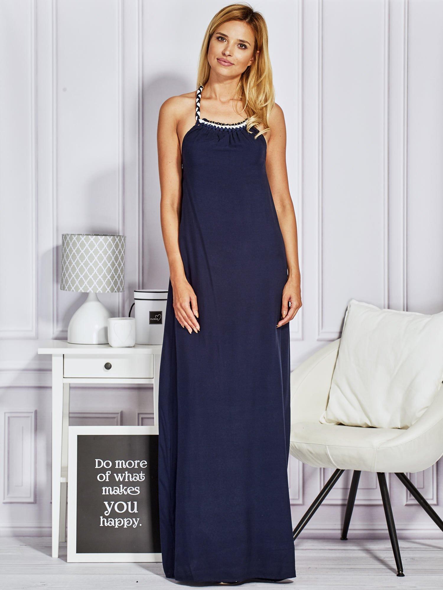 61477773 Granatowa sukienka maxi z wiązaniem na szyi
